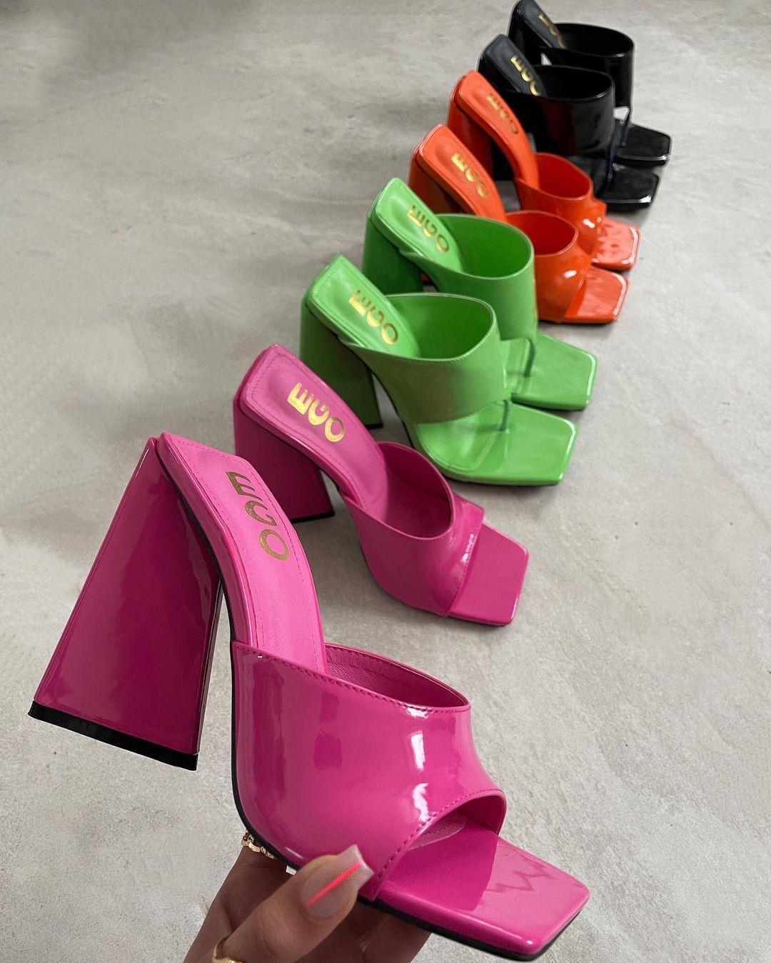 EGO neon green mule heels
