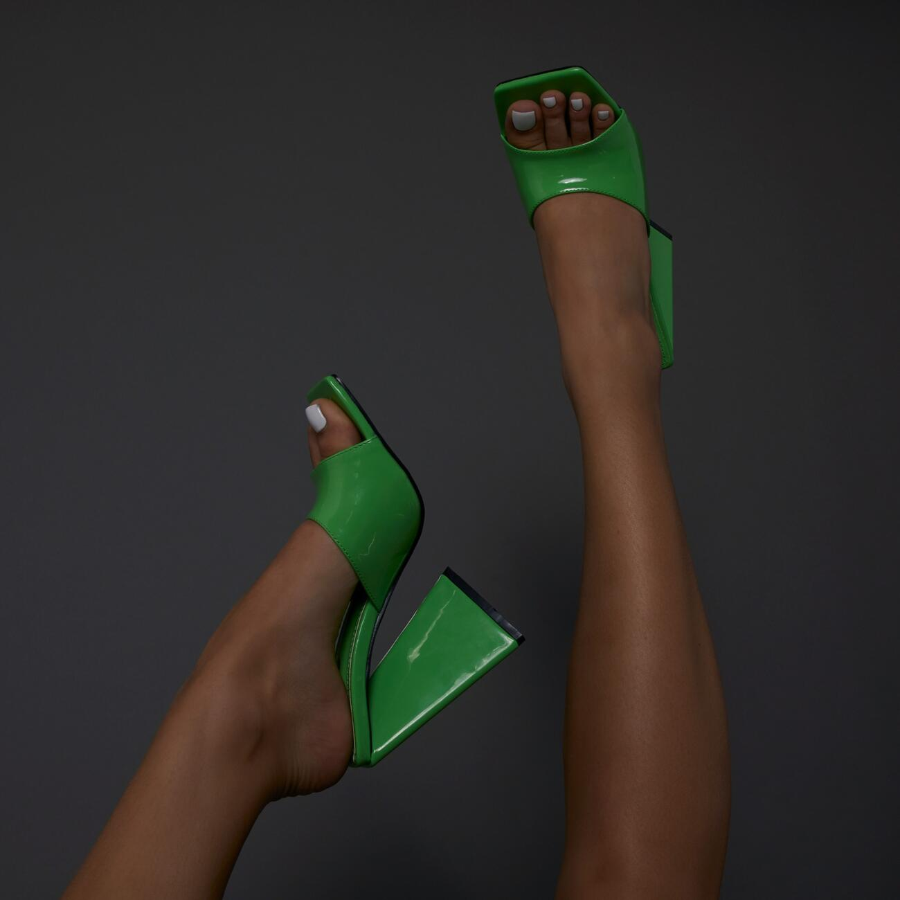 EGO neon green mules
