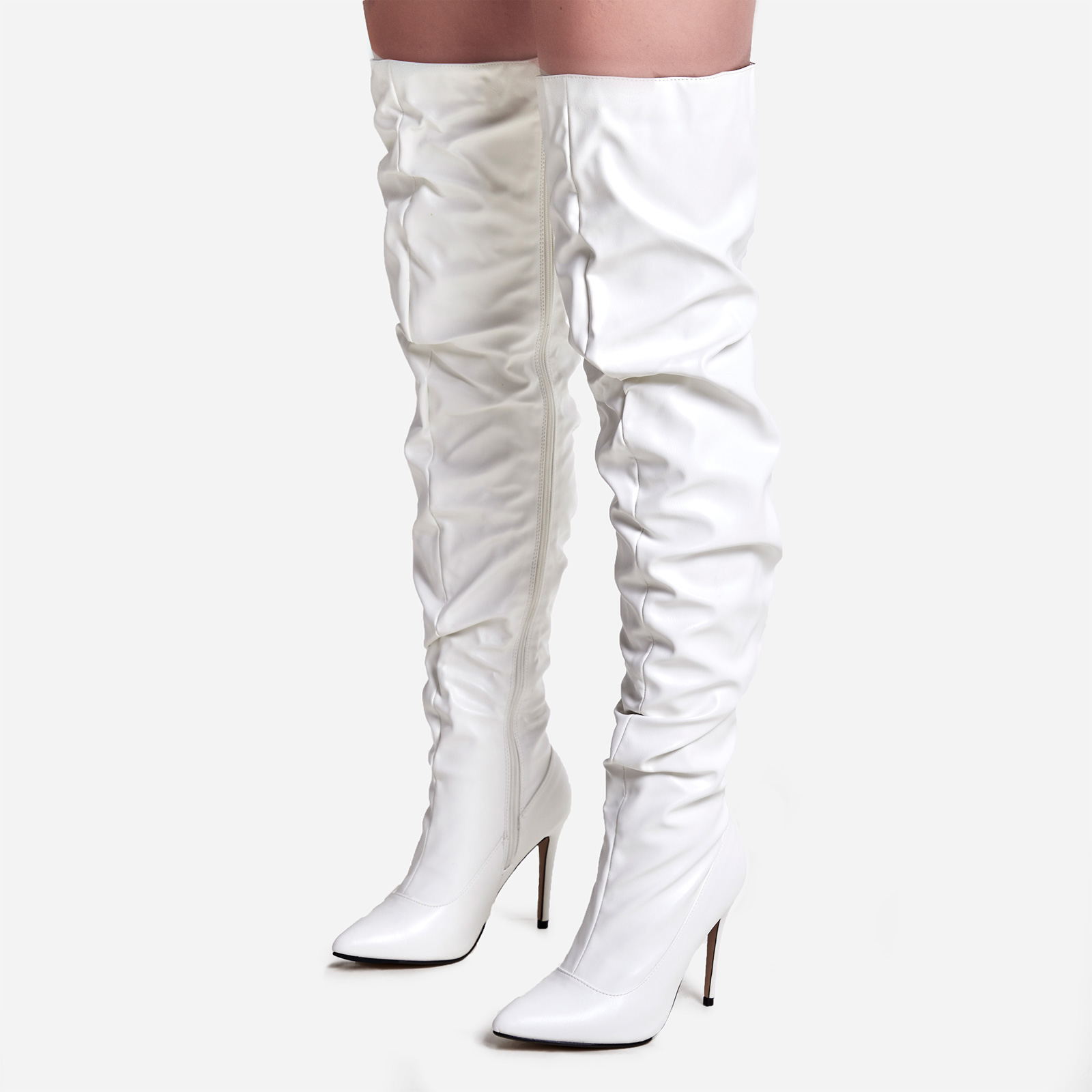 Popcorn Slouched Thigh High Long Boot In White Faux Leather