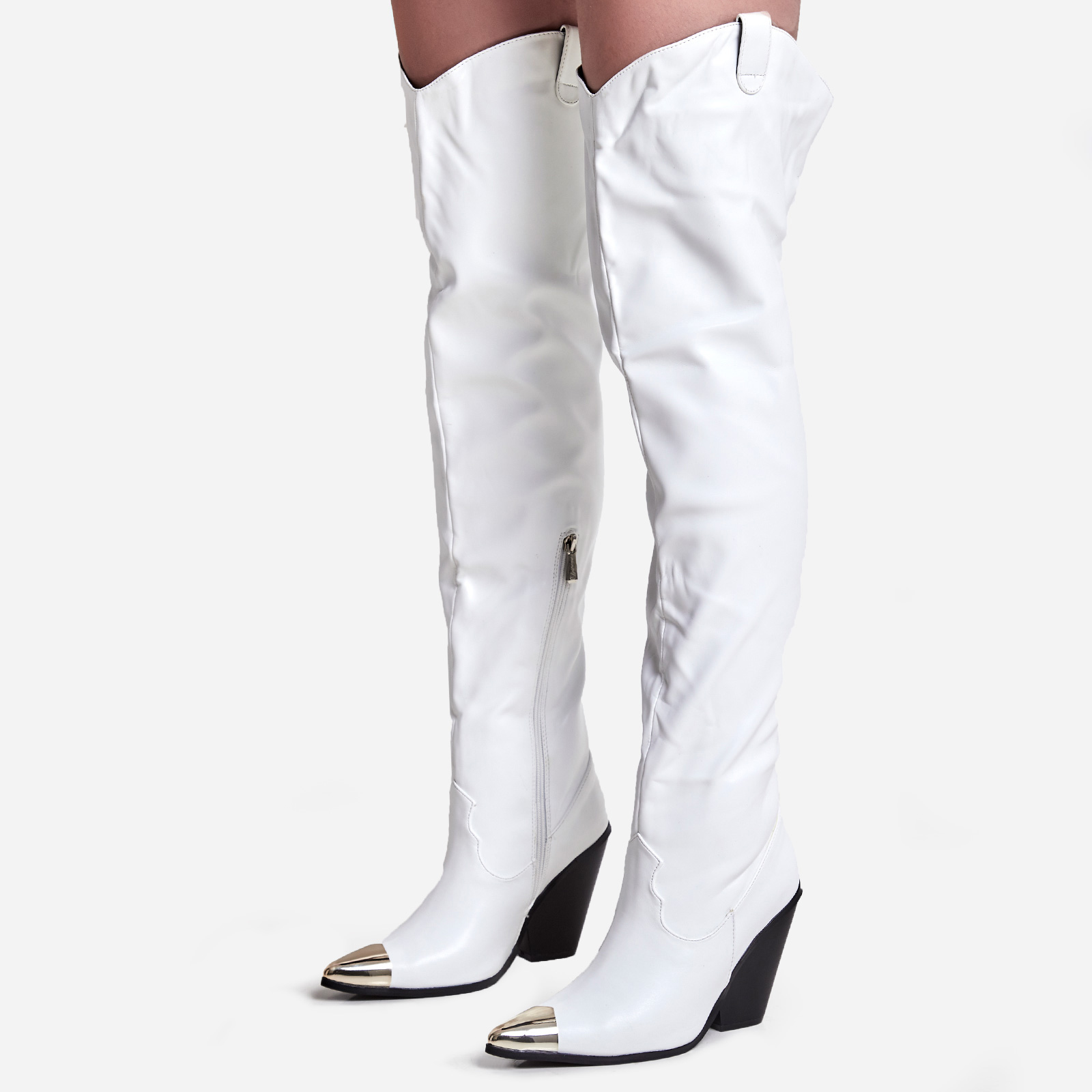 Gonna Toe Cap Detail Thigh High Western Long Boot In White Faux Leather