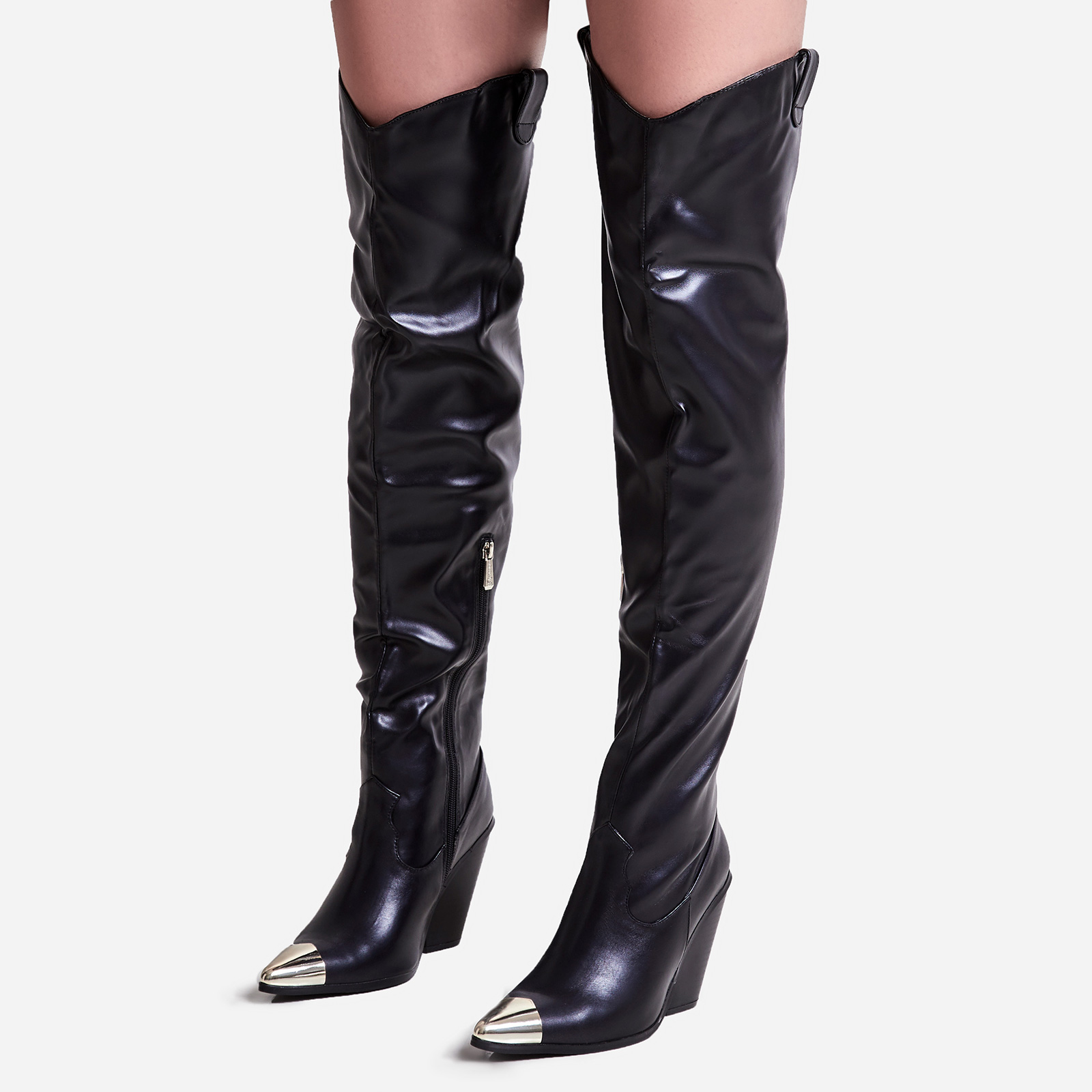 Gonna Toe Cap Detail Thigh High Western Long Boot In Black Faux Leather