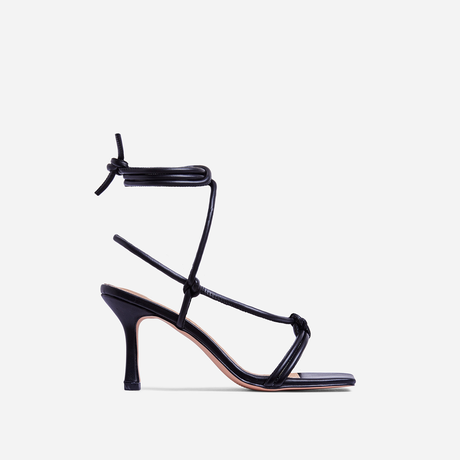 Priya Square Toe Lace Up Heel In Black Faux Leather
