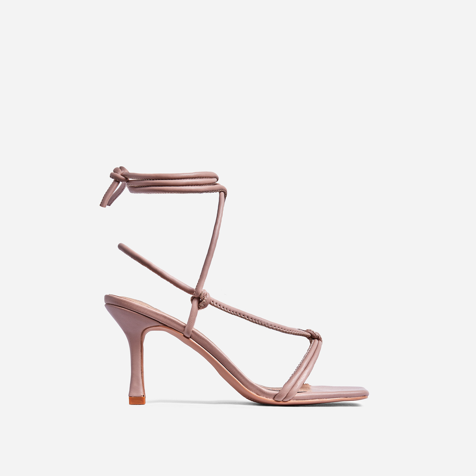 Priya Square Toe Lace Up Heel In Nude Faux Leather
