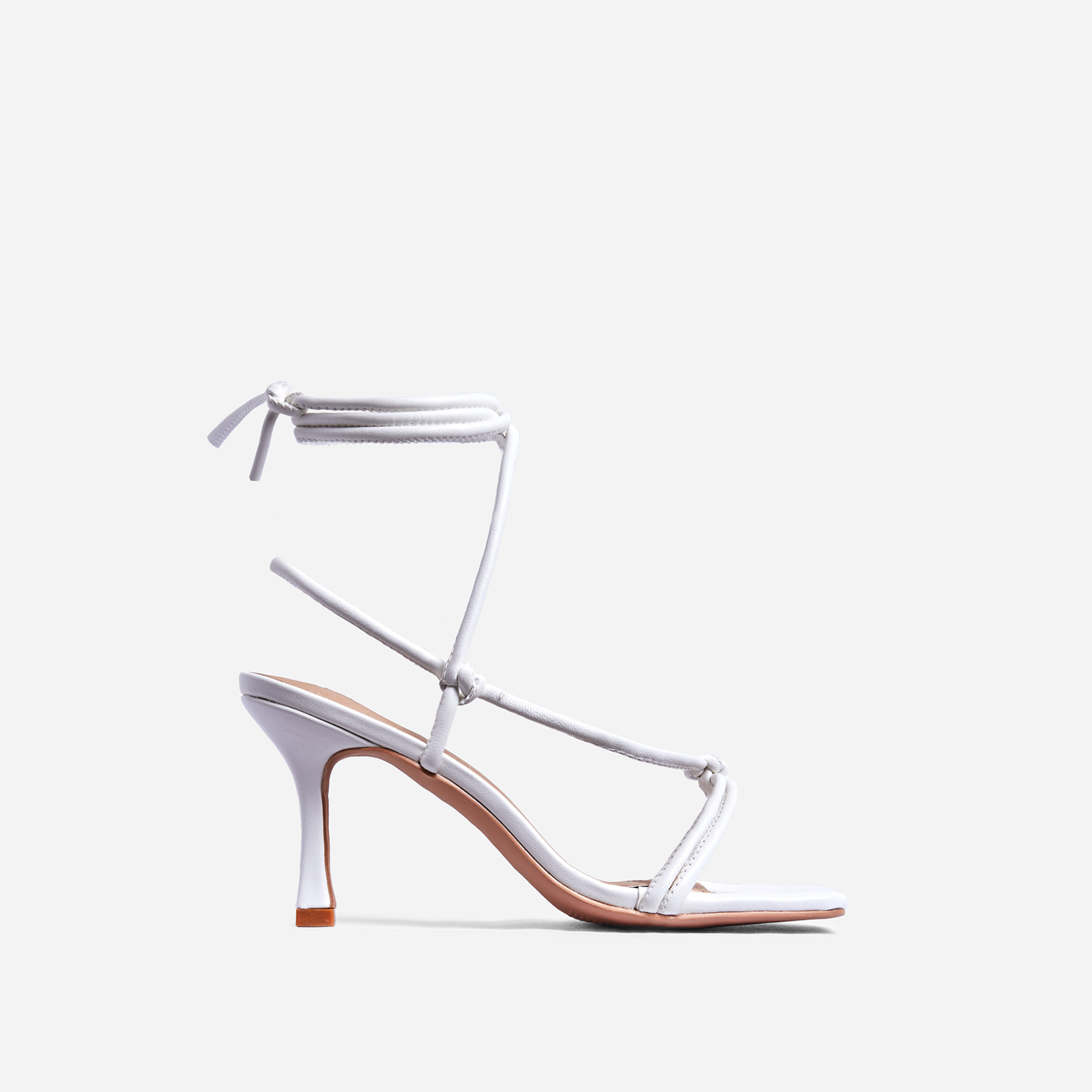 Priya Square Toe Lace Up Heel In White Faux Leather