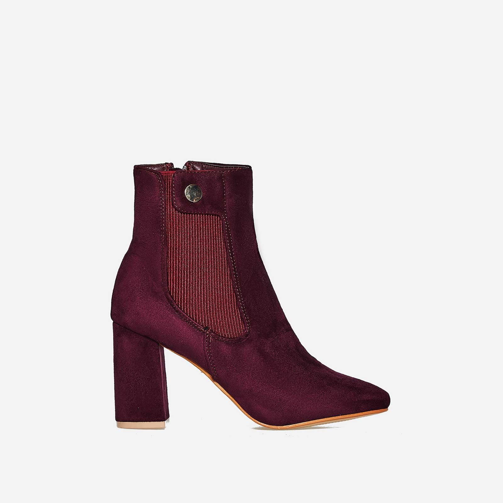 Monroe Block Heel Ankle Boot In Burgundy Faux Suede