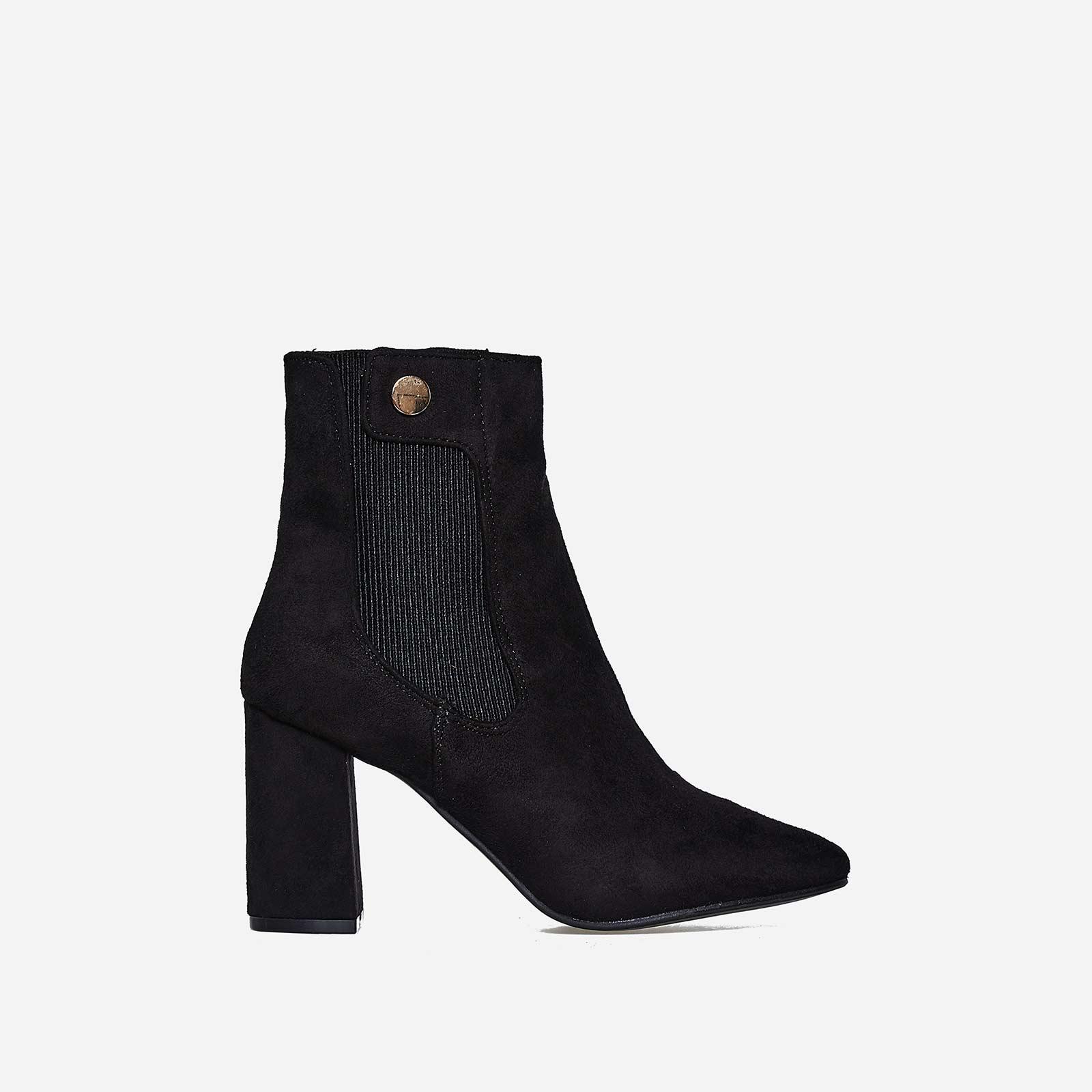 Monroe Block Heel Ankle Boot In Black Faux Suede