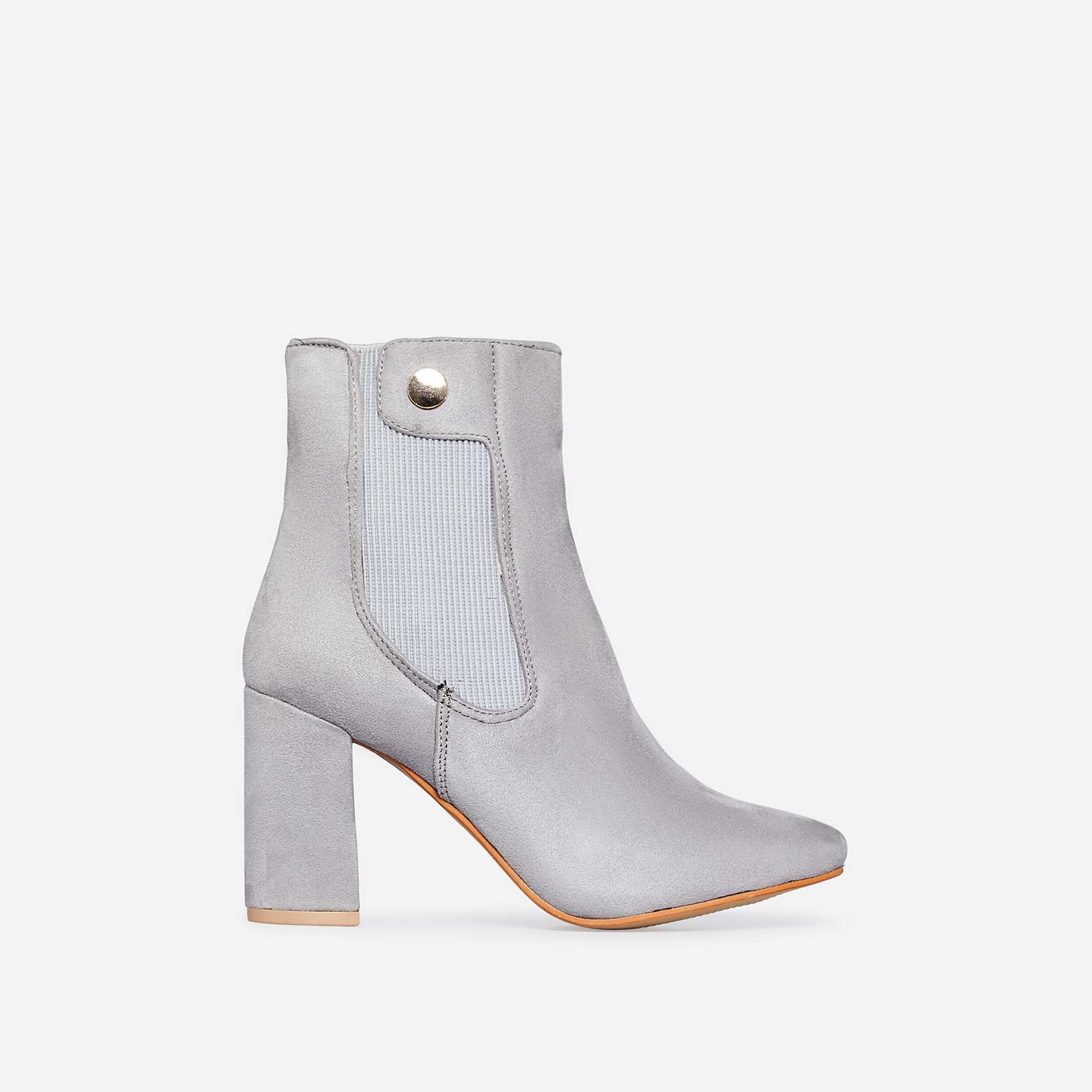 Monroe Block Heel Ankle Boot In Grey Faux Suede