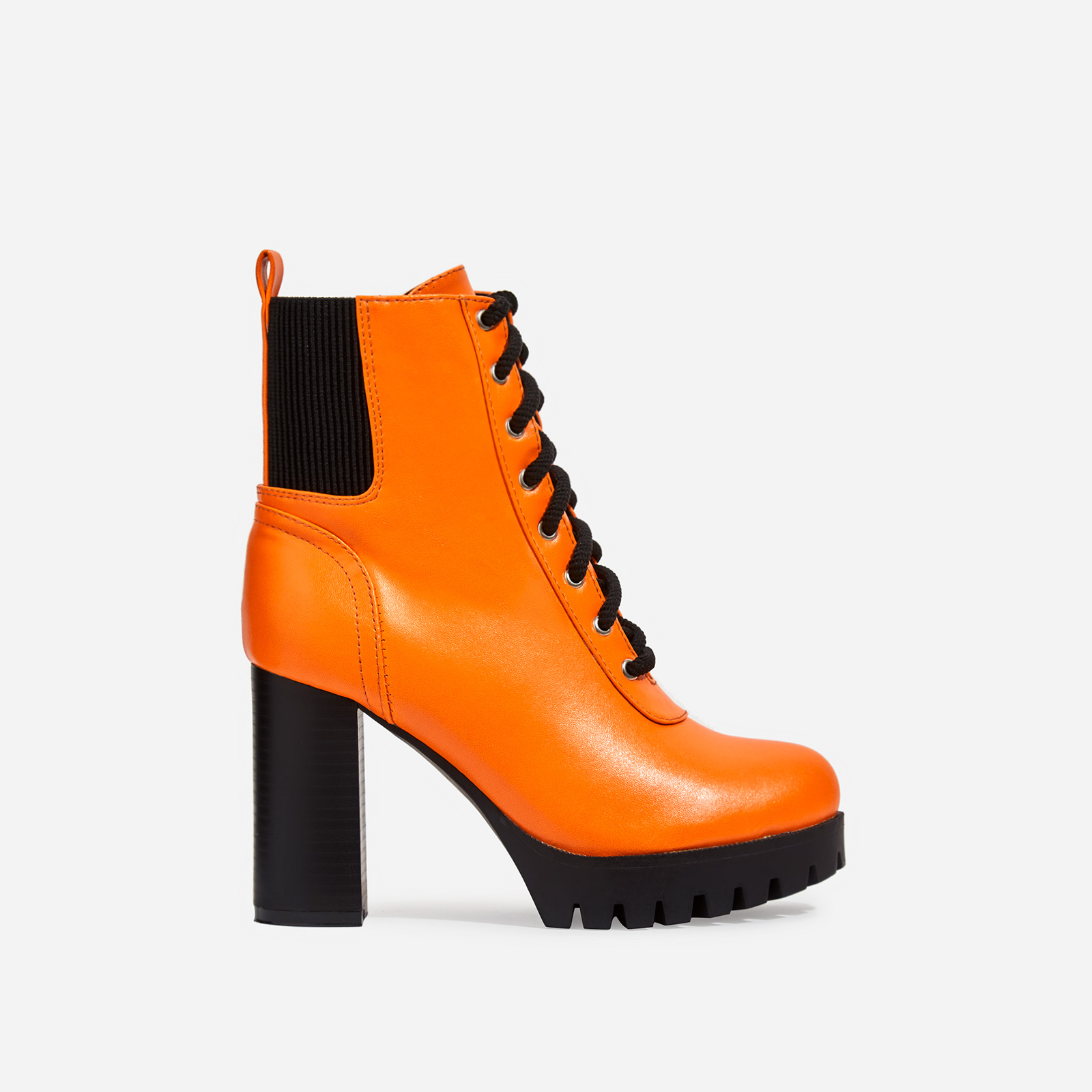 Jorja Platform Lace Up Cleated Sole Ankle Boot In Neon Orange Faux Leather