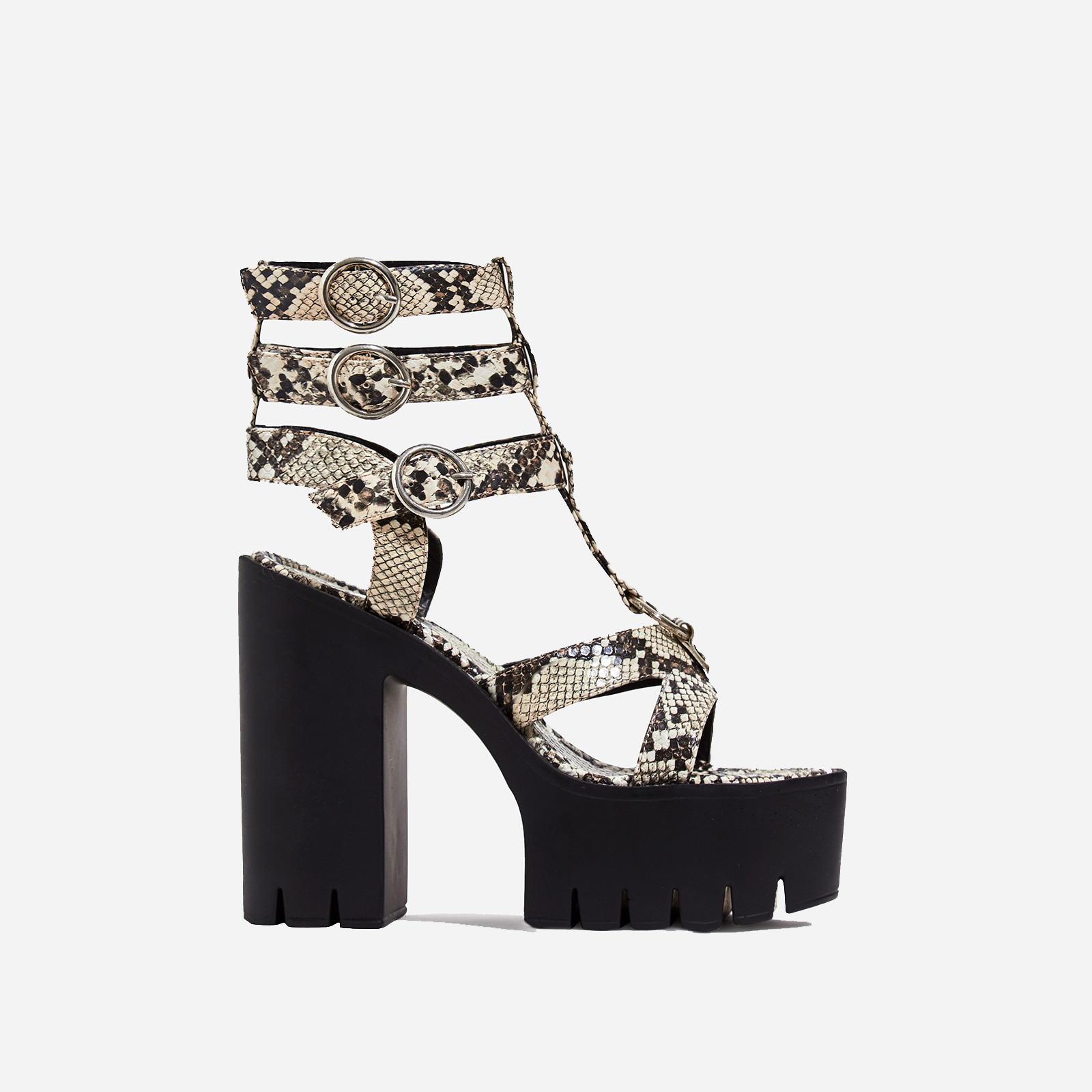 Leap Platform Cut Out Caged Heel In Nude Snake Print Faux Leather