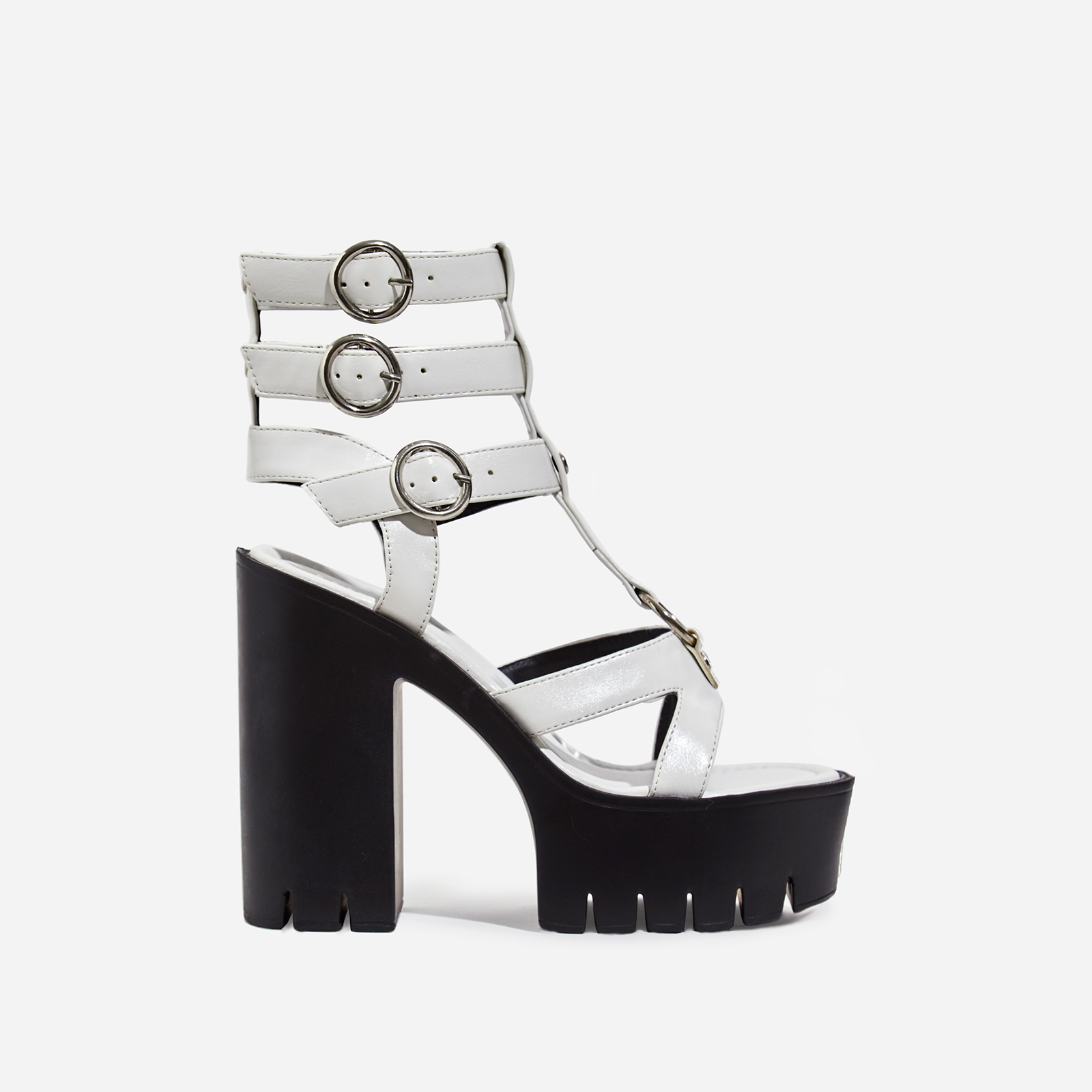 Leap Platform Cut Out Caged Heel In White Faux Leather