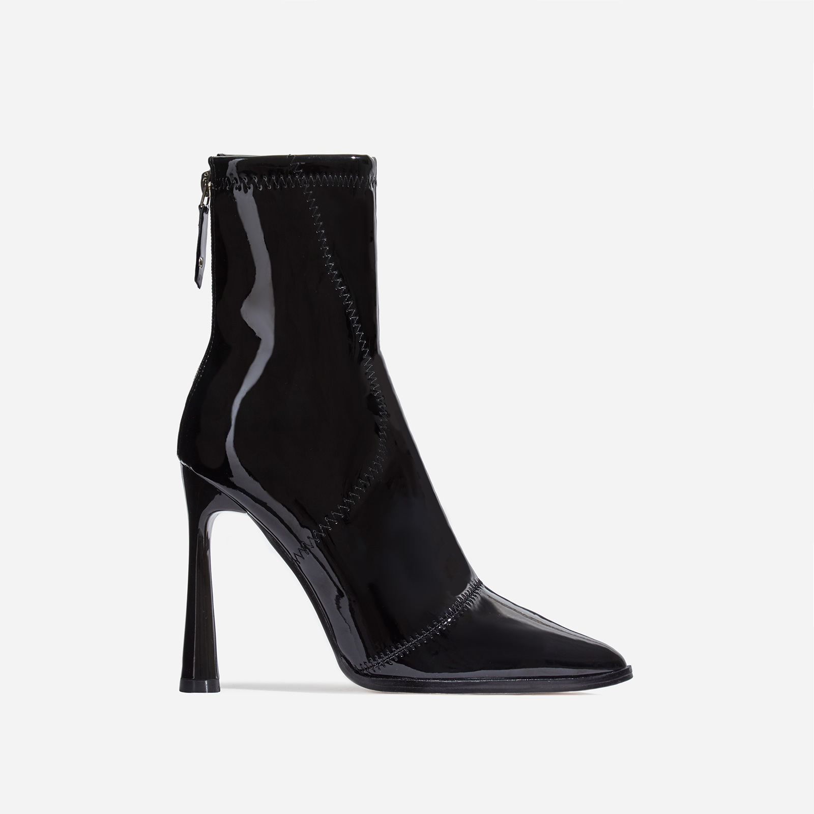 Nolan Curved Heel Ankle Boot In Black Patent