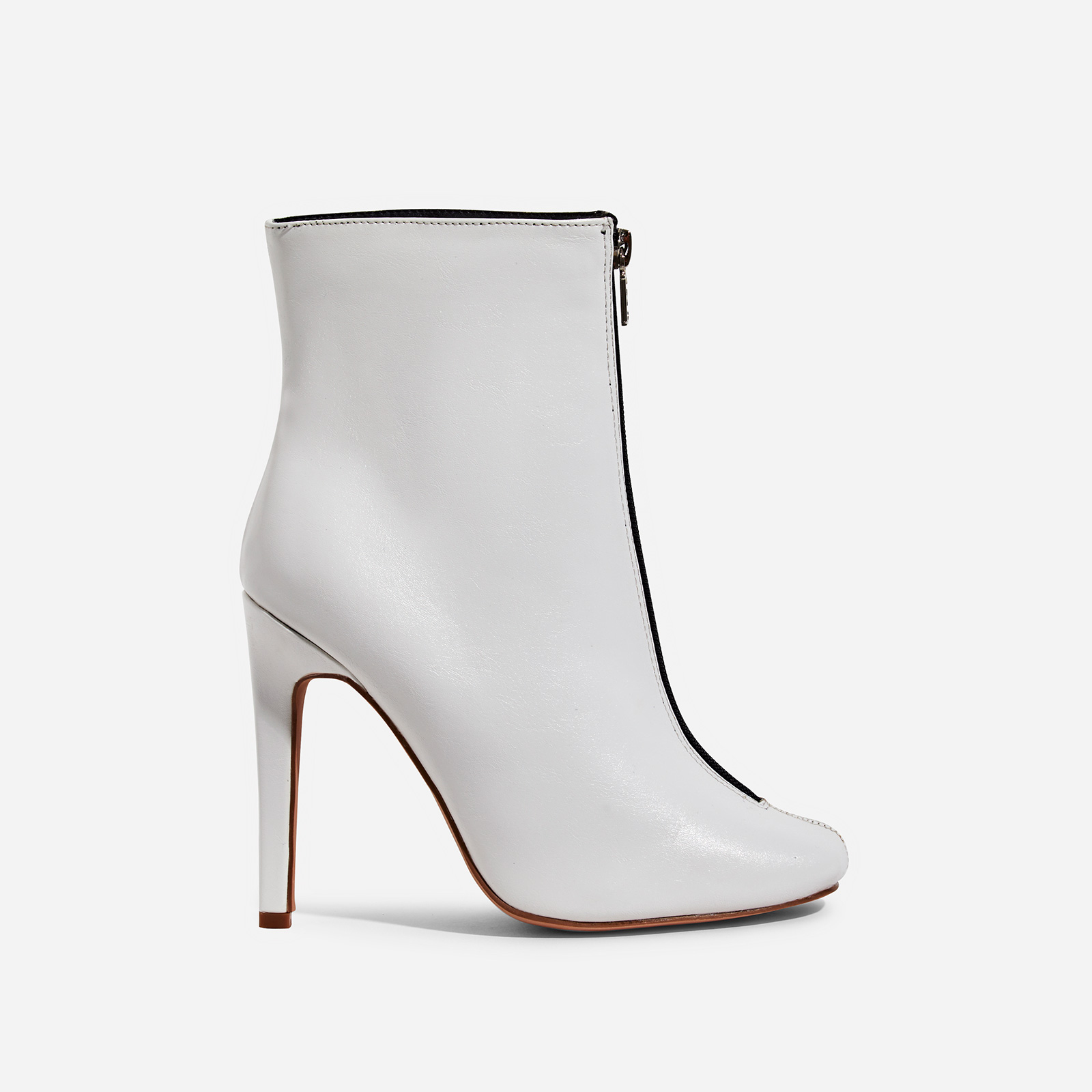Jonah Zip Detail Ankle Boot In White Faux Leather