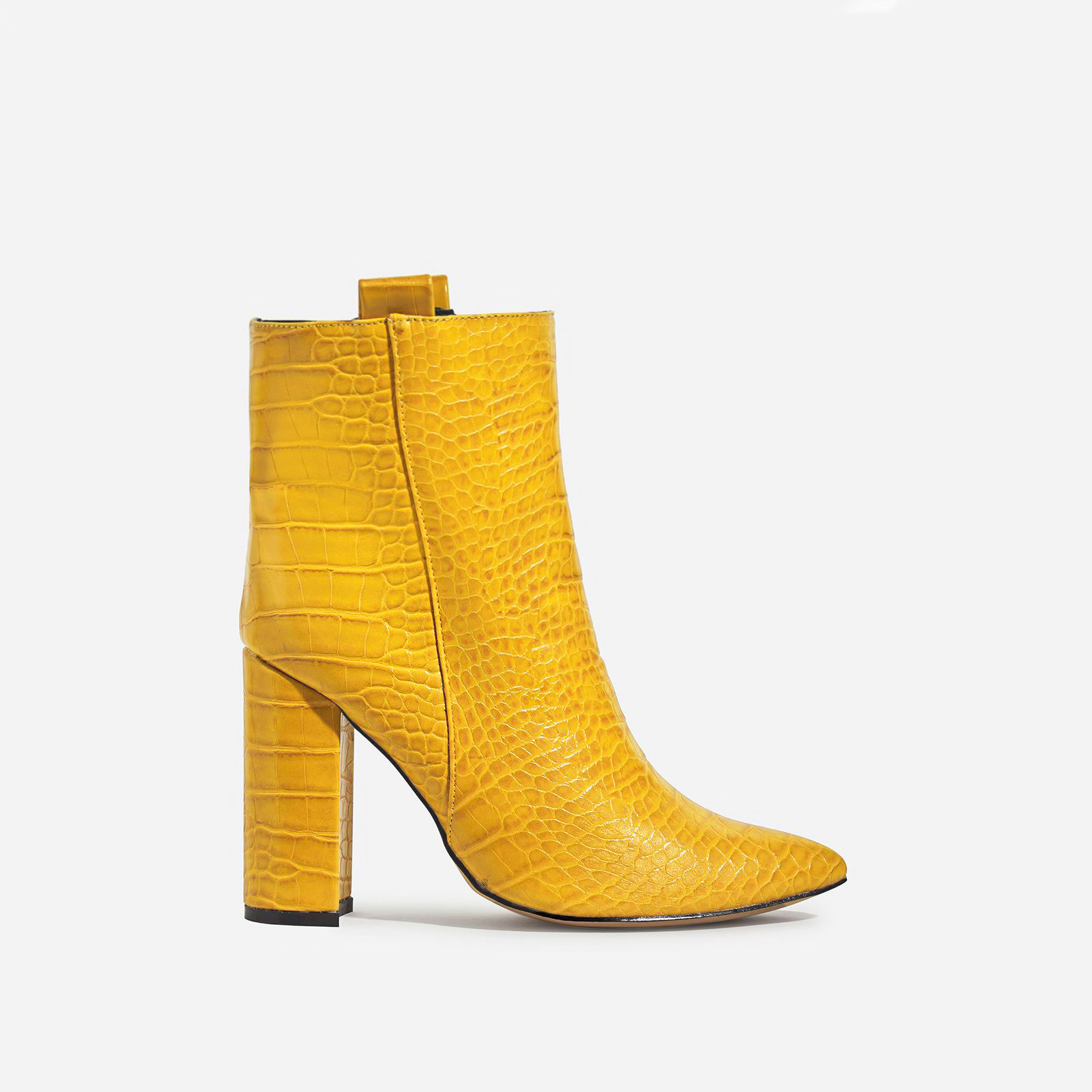 Monterey Block Heel Ankle Boot In Yellow Croc Print Faux Leather