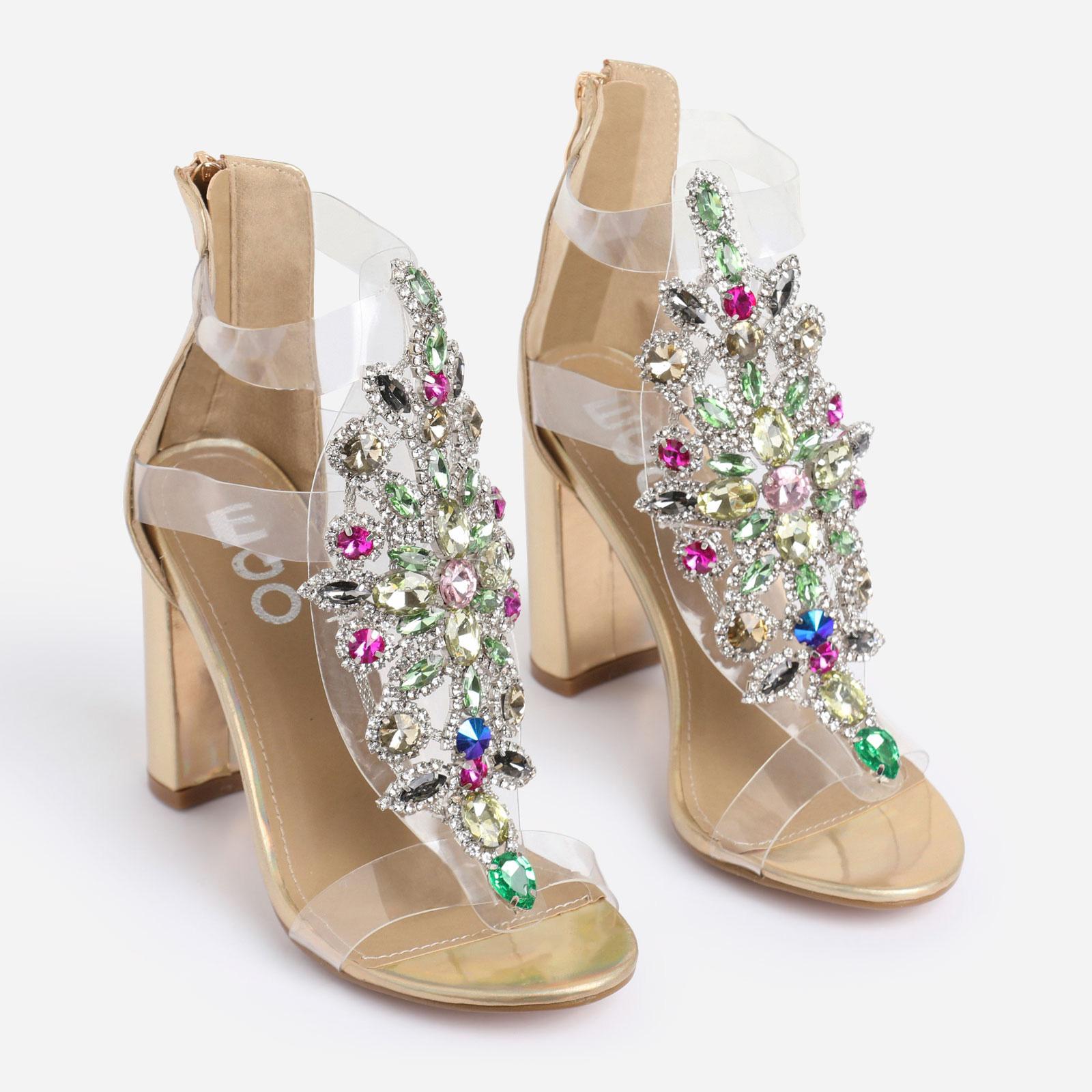 Tatum Jewel Embellished Block Heel In Metallic Gold Faux Leather