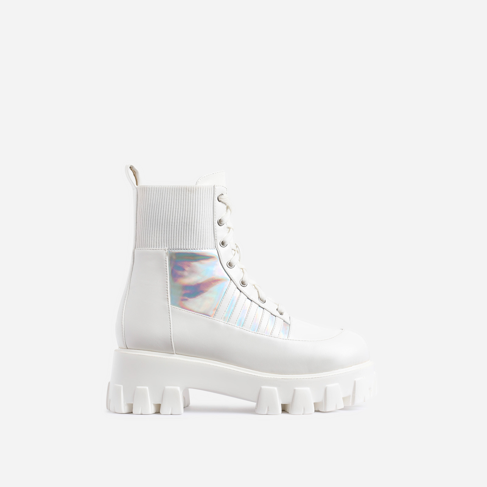 Francis Chunky Sole Holographic Stripe Detail Lace Up Ankle Biker Boot In White Faux Leather