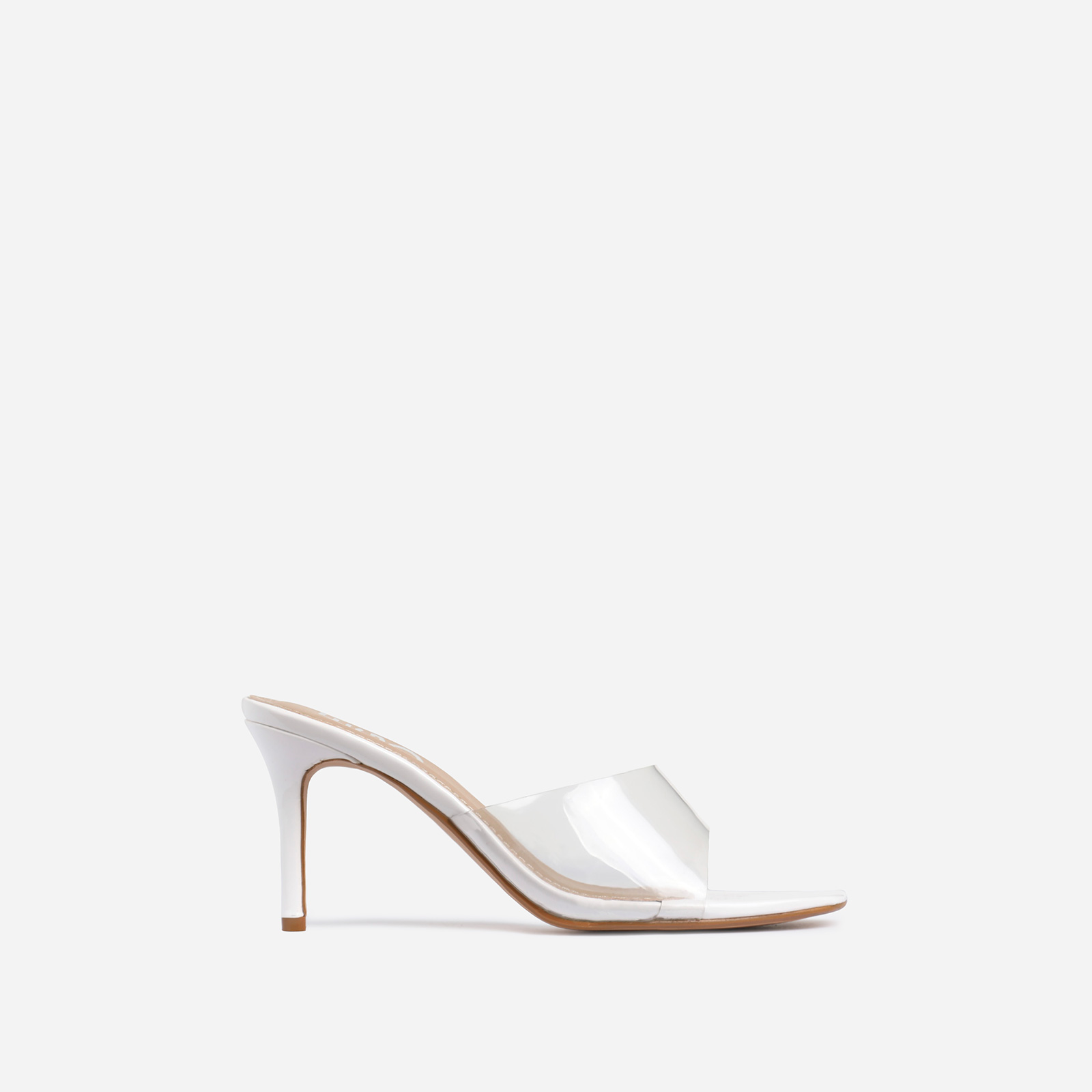 Rexa Square Peep Toe Clear Perspex Kitten Heel Mule In White Patent