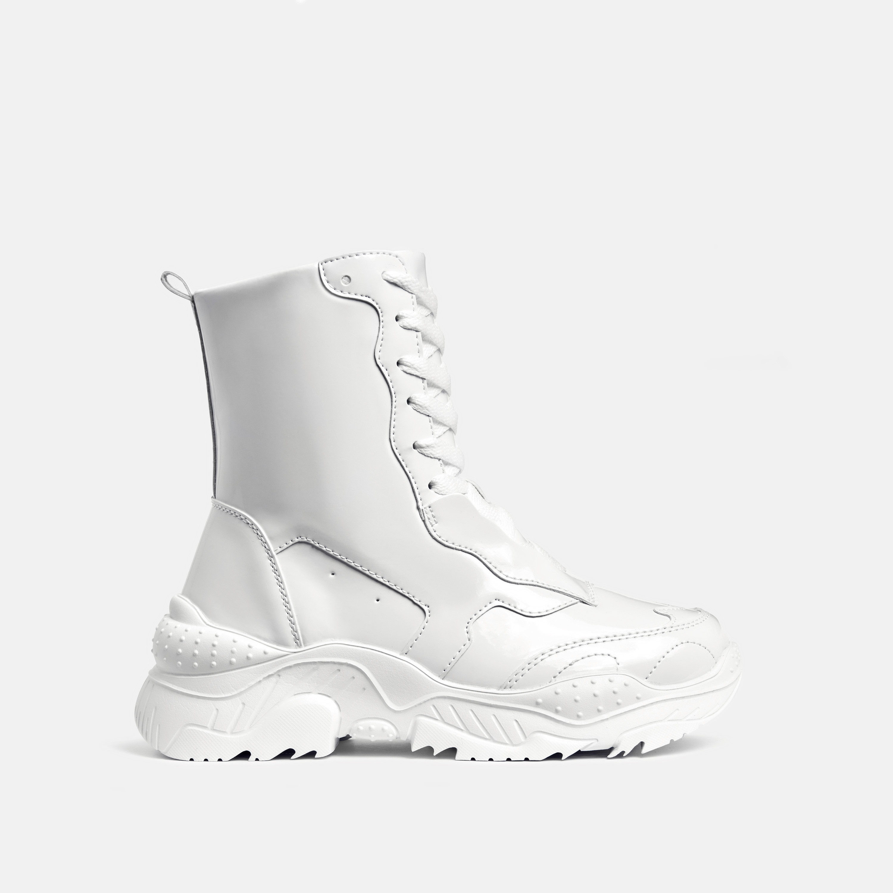 Kute Chunky Sole Lace Up Ankle Biker Boot In White Patent