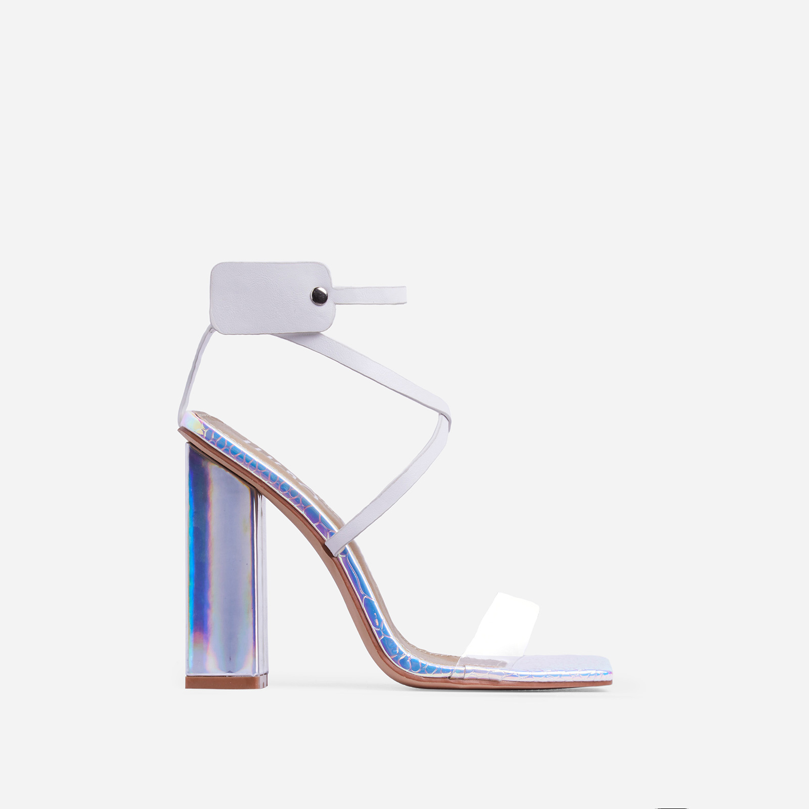 Cocktail Perspex Square Toe Block Heel In Silver Holographic Snake Print And White Faux Leather