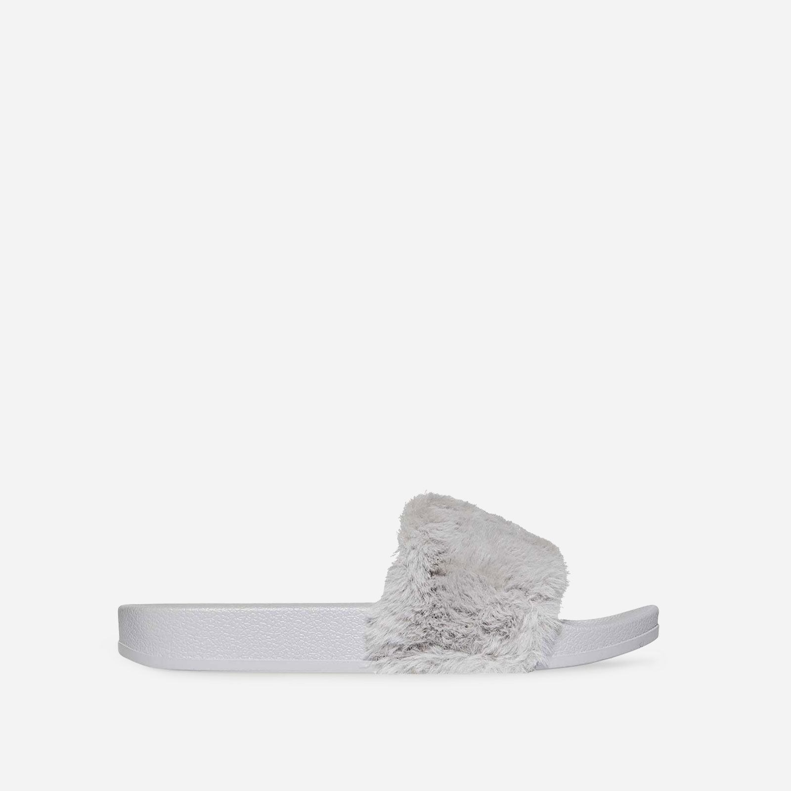 Farrah Rubber Slider With Faux Fur Trim In Grey Image 1