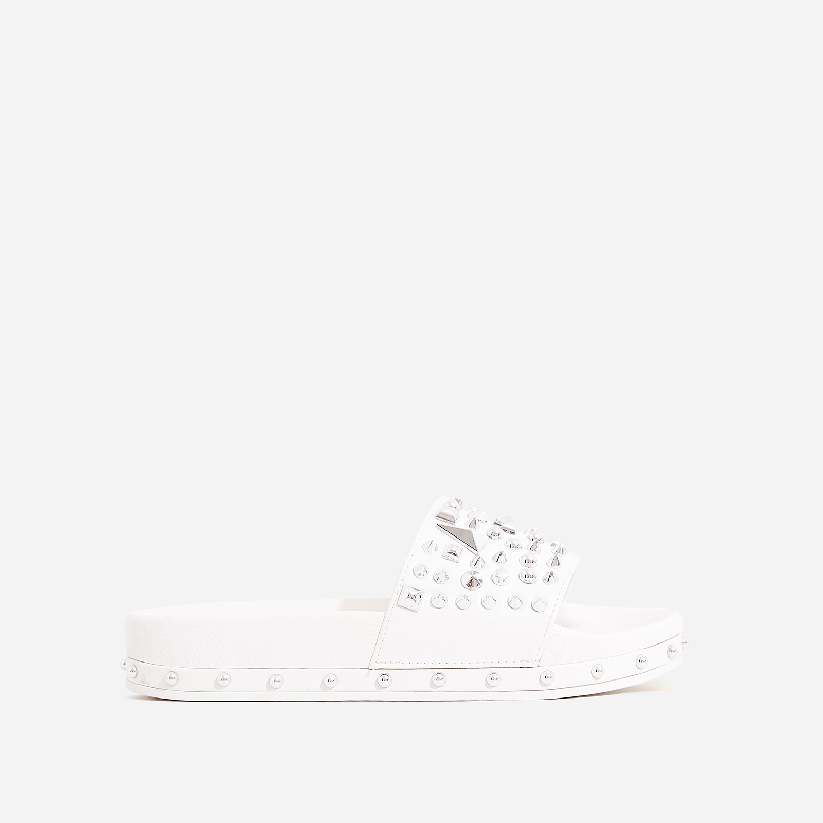 Reco Studded Detail In Rubber Slider In White Faux Leather