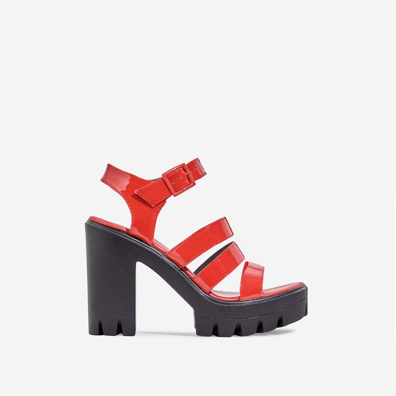 Phoebe Caged Platform Block Heel In Red Patent