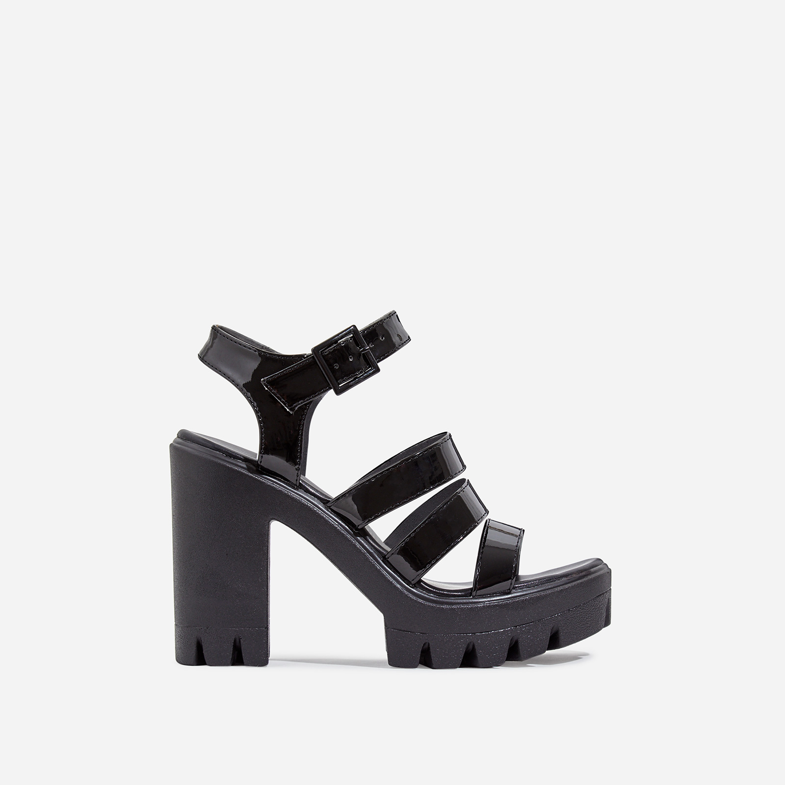 Phoebe Caged Platform Block Heel In Black Patent