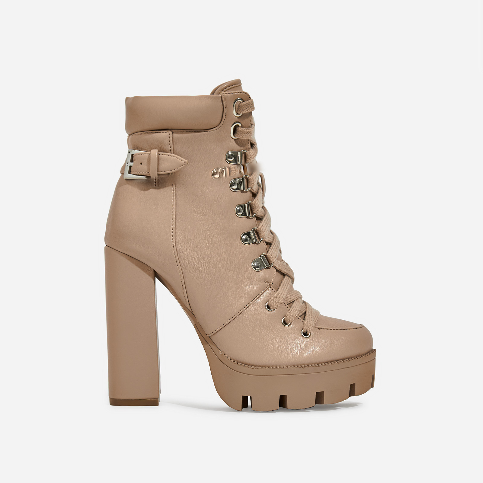 Veera Platform Lace Up Ankle Biker Boot In Nude Faux Leather