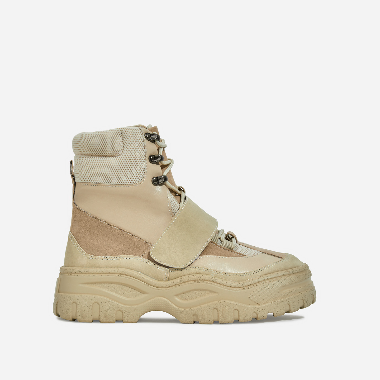 Rover Lace Up Ankle Hiker Boot In Nude Faux Leather And Suede
