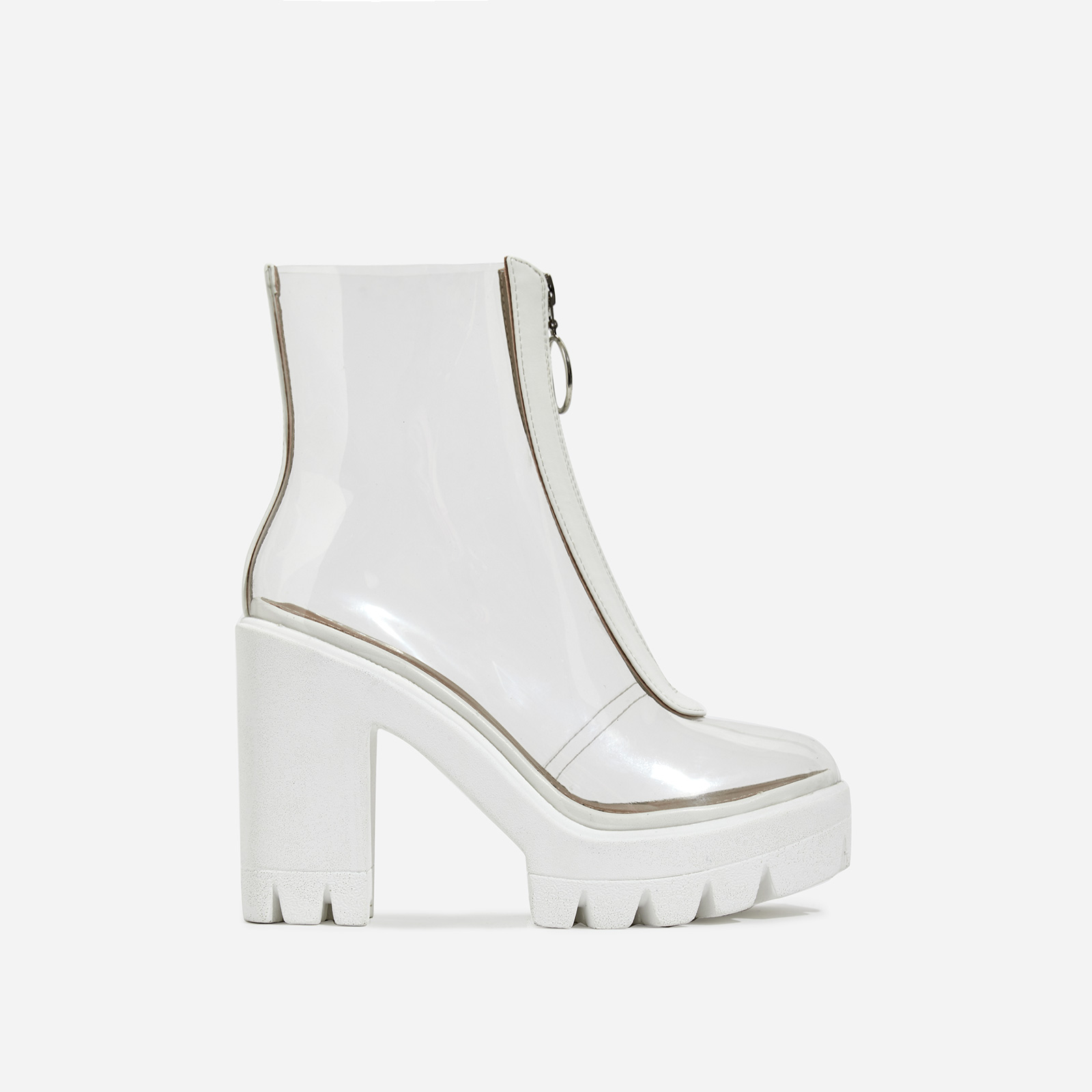 Pool Zip Detail Perspex Platform Ankle Boot In White