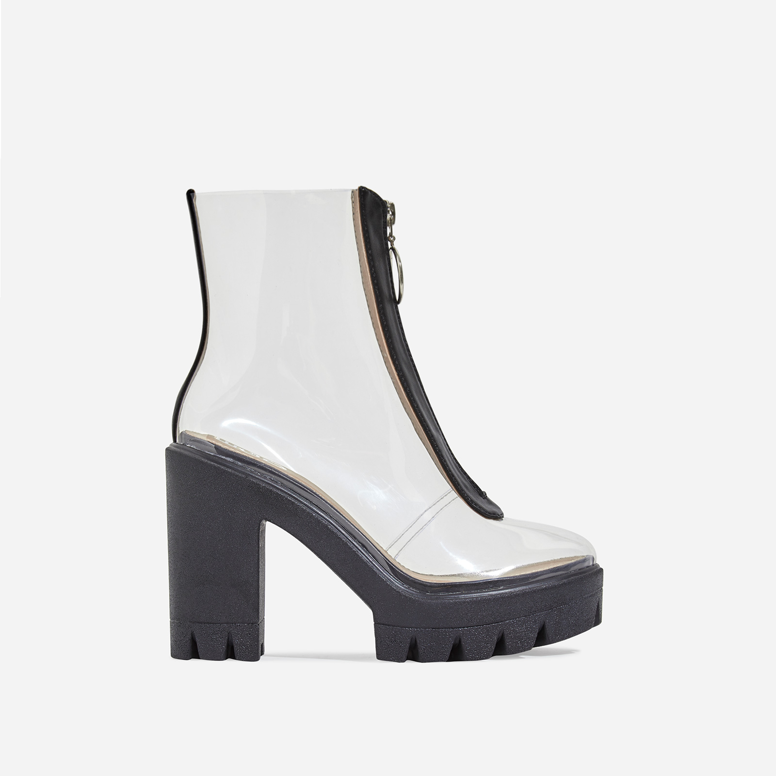 Pool Zip Detail Perspex Platform Ankle Boot In Black