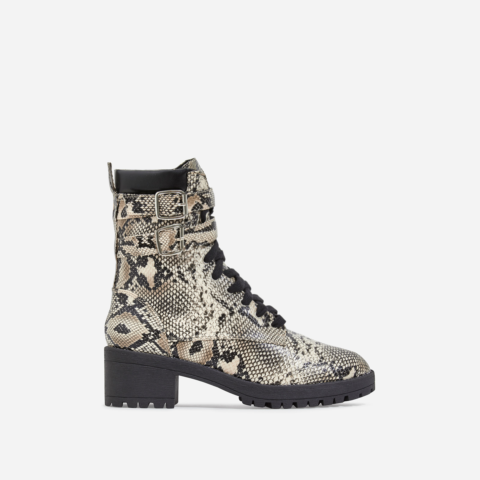 Jovi Lace Up Ankle Biker Boot In Nude Snake Print Faux Leather