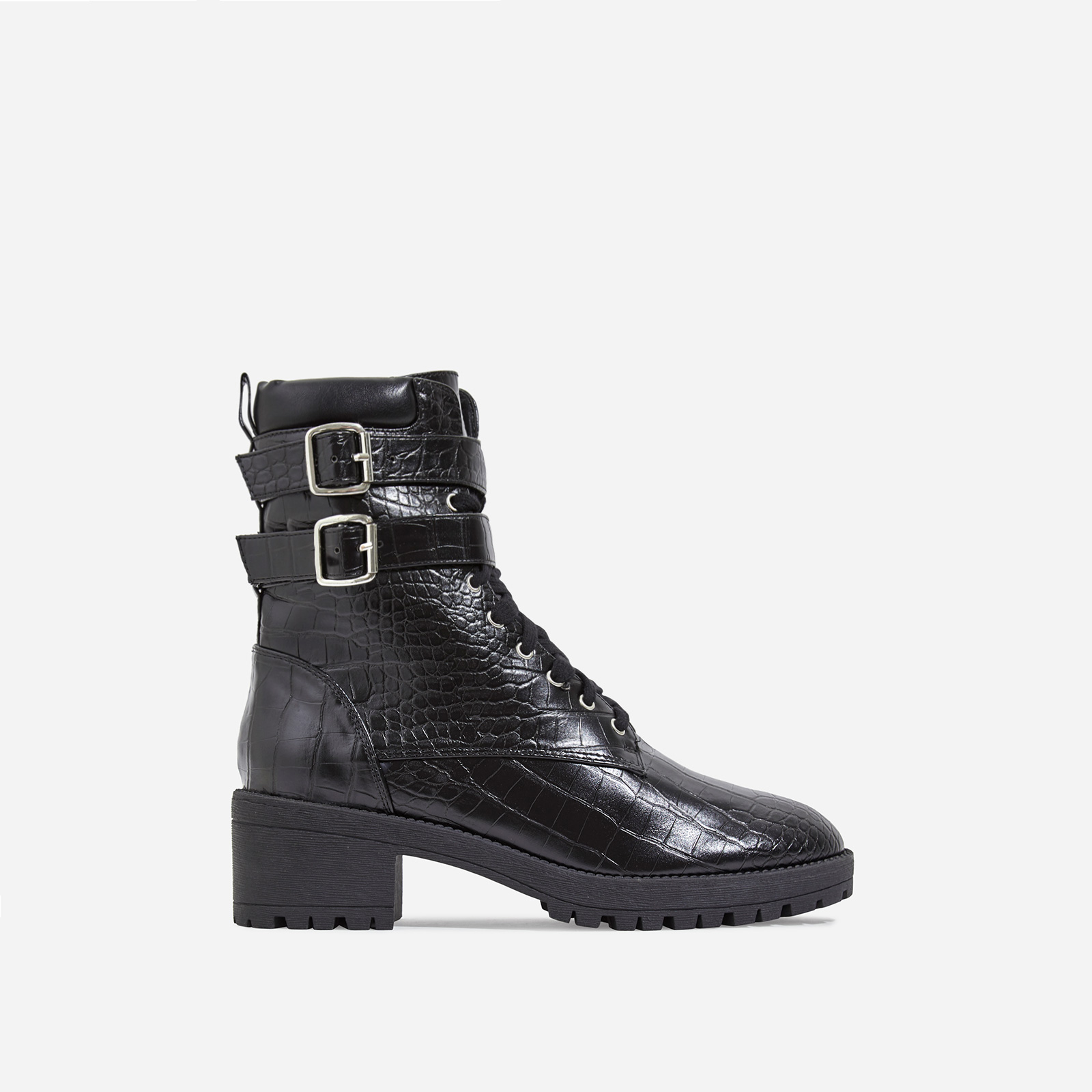 Jovi Lace Up Ankle Biker Boot In Black Croc Print Faux Leather