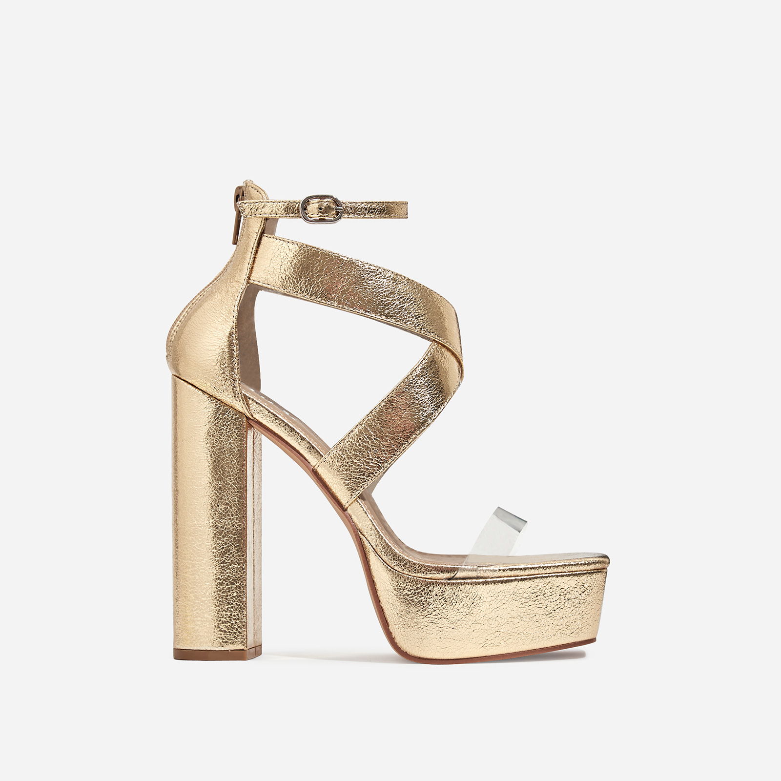 Nirvana Platform Square Toe Clear Perspex Heel In Gold Faux Leather