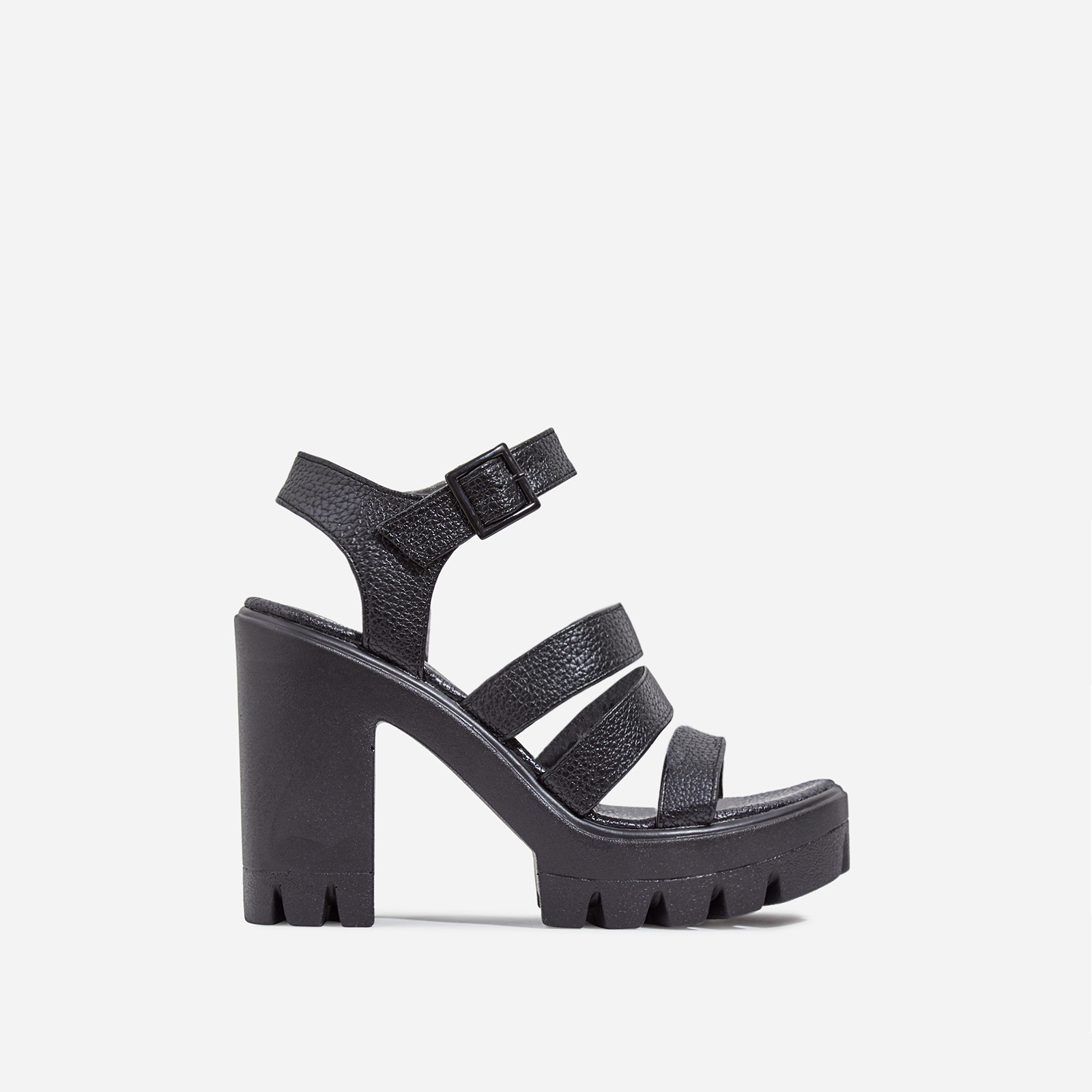 Phoebe Caged Platform Block Heel In Black Faux Leather