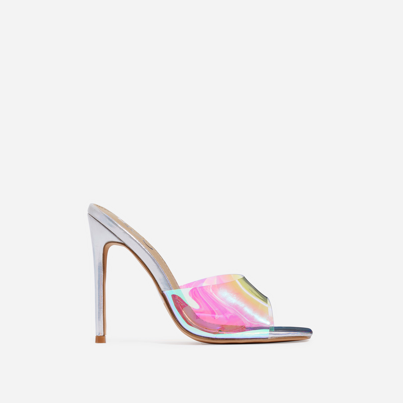 Cyan Square Toe Holographic Perspex Peep Toe Mule In Silver Faux Leather