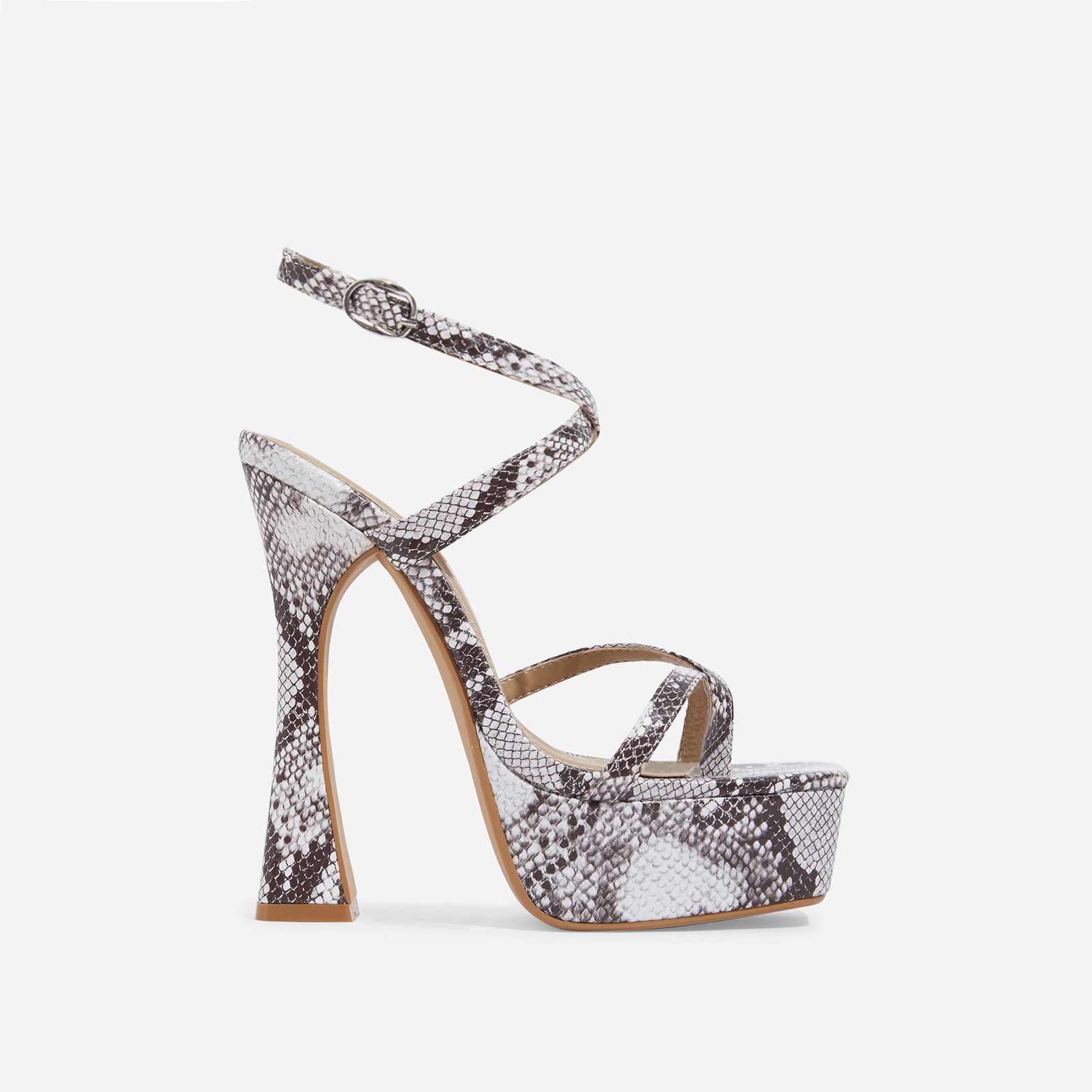 Vox Square Toe Platform Flared Heel In Grey Snake Print Faux Leather