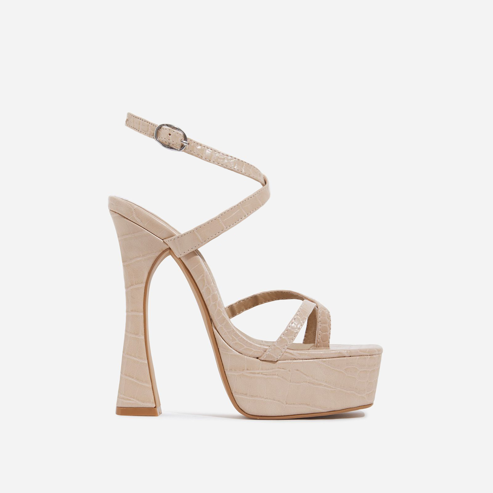 Vox Square Toe Platform Flared Heel In Nude Croc Print Faux Leather
