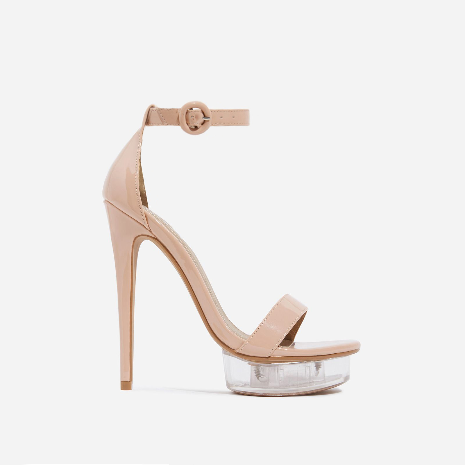 Passion Barely There Clear Perspex Platform Heel In Nude Patent