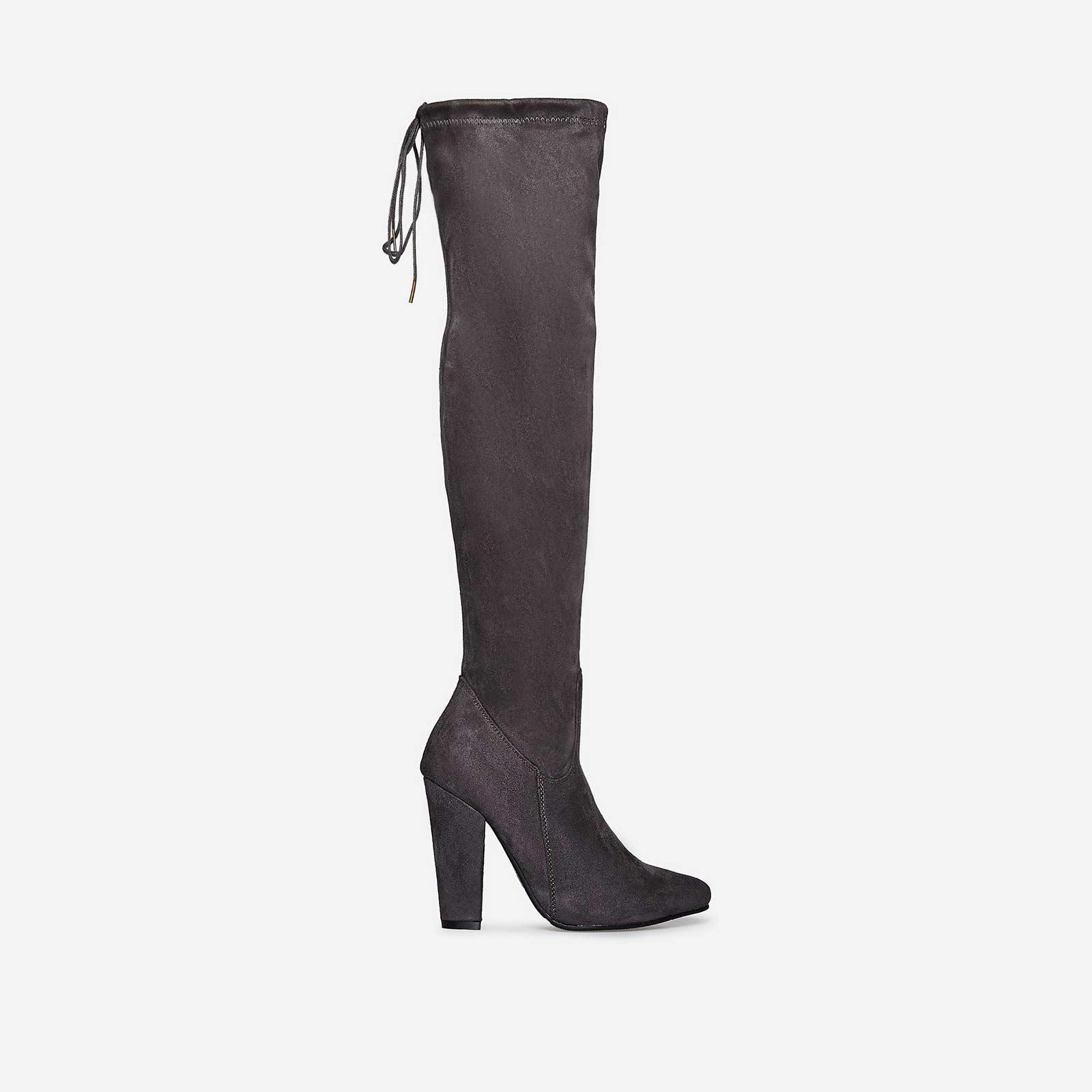 Sloan Block Heel Long Boot In Grey Faux Suede