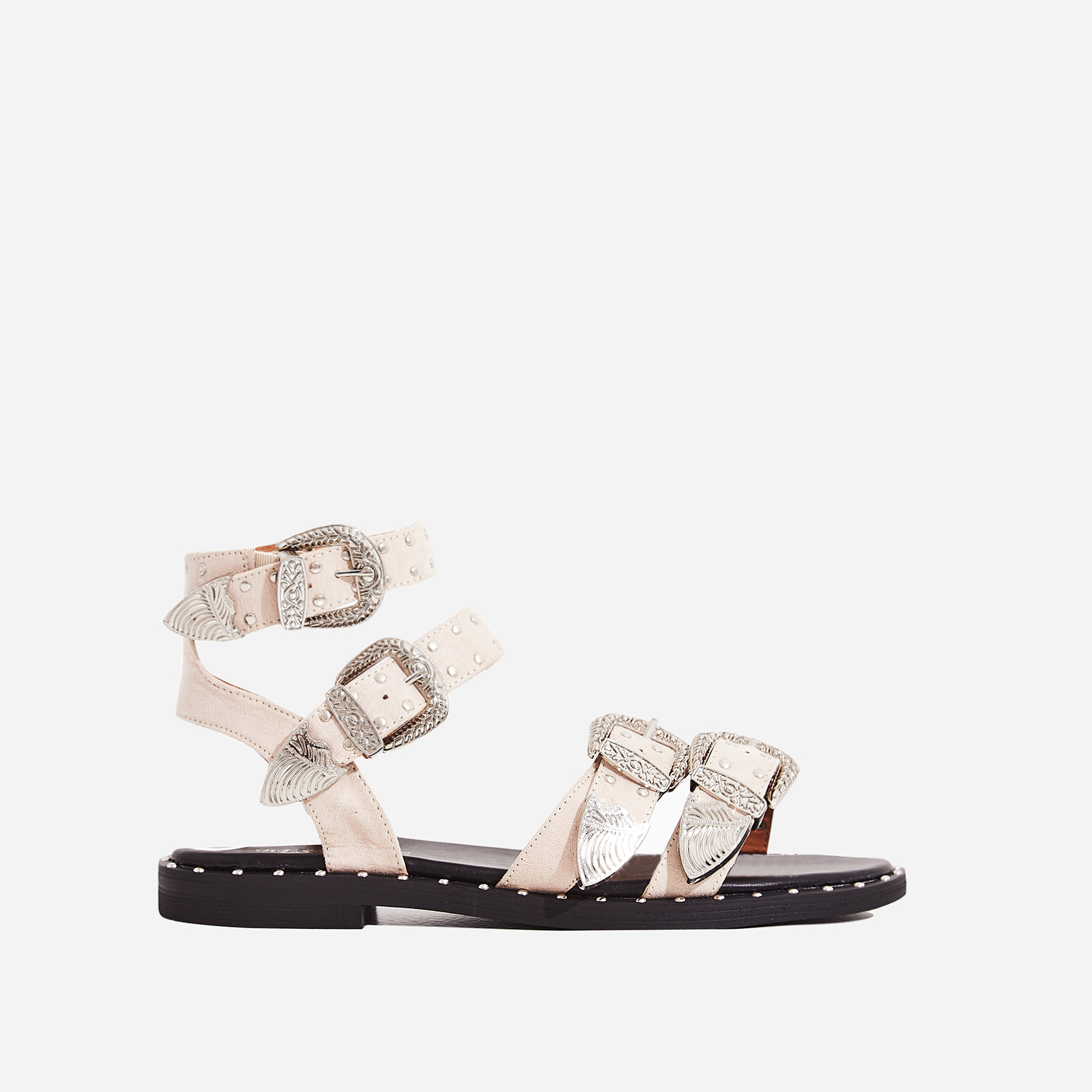 Albie Studded Detail Gladiator Sandal In Nude Faux Suede