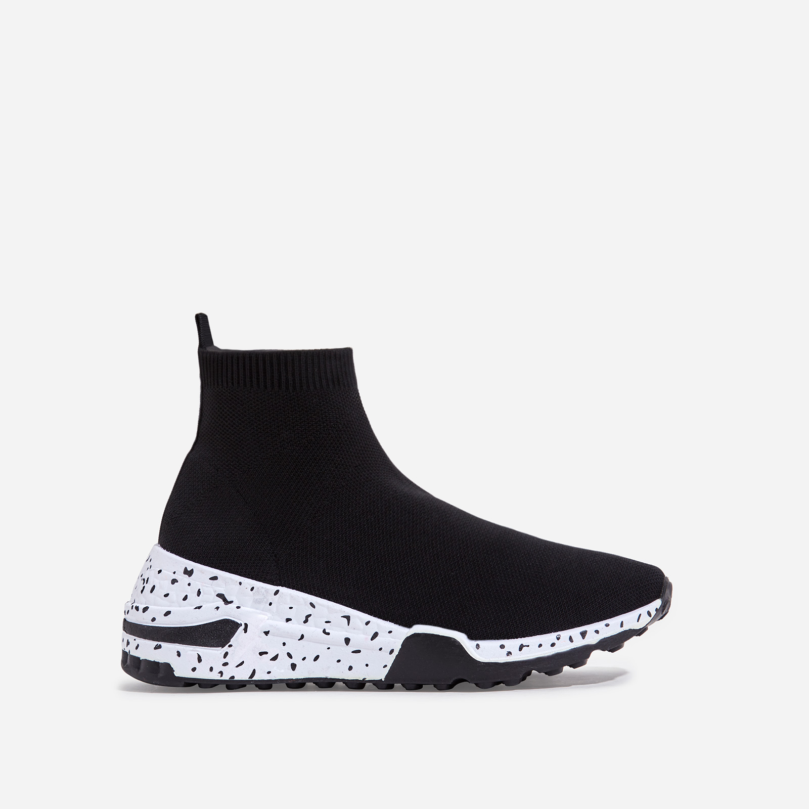 Mint Speckle Print Chunky Sole Sock Trainer In Black Knit