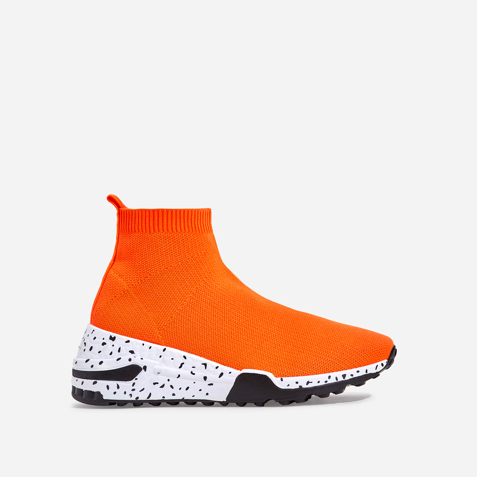 Mint Speckle Print Chunky Sole Sock Trainer In Orange Knit