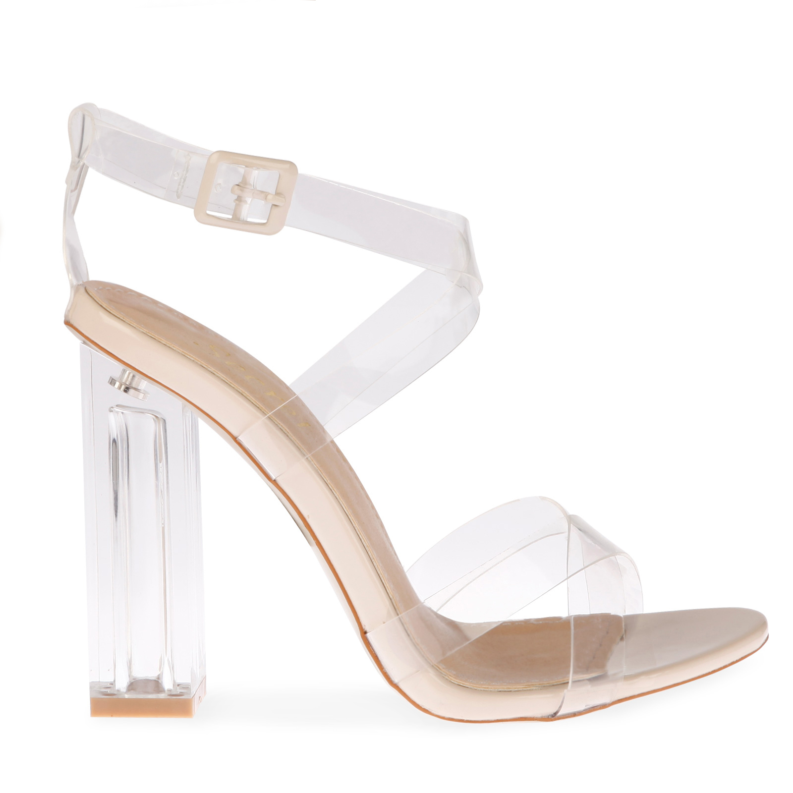 Daphne Strappy Sandal With Squared Heel In Clear Perspex