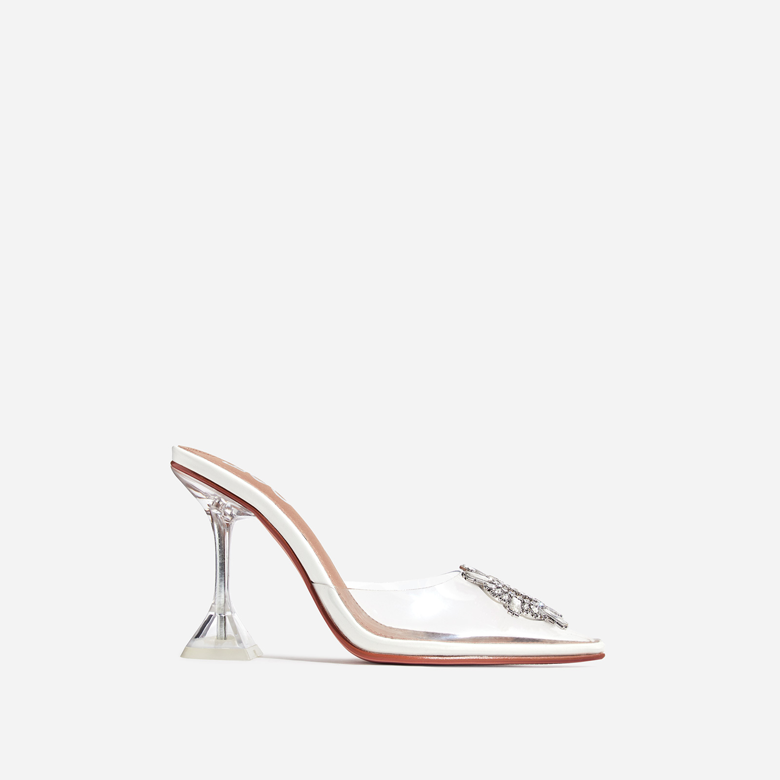 Midnight Diamante Detail Perspex Heel Mule In White Faux Leather