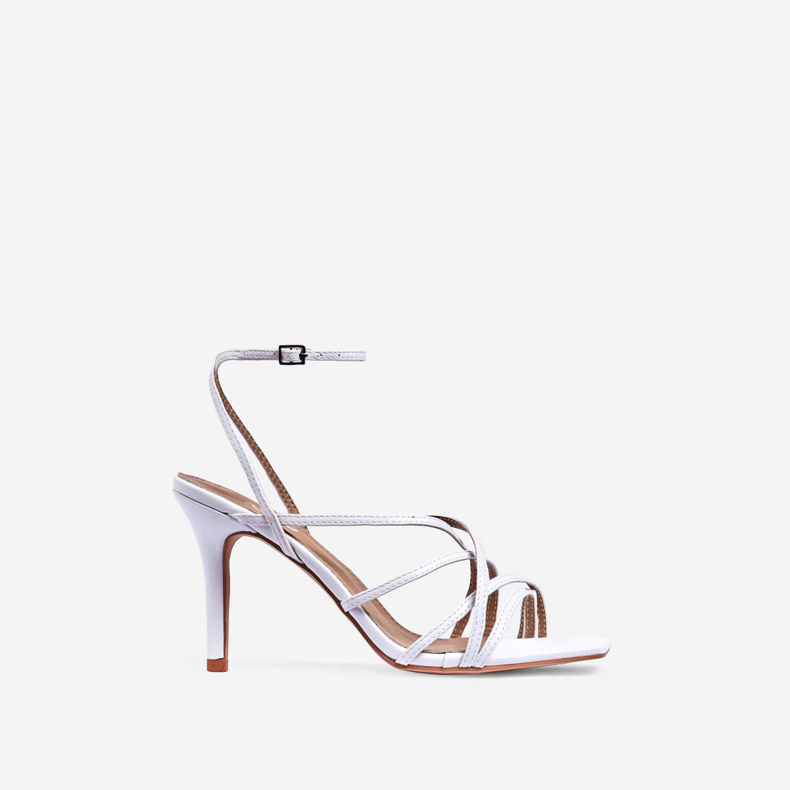 Shade Square Toe Strappy Kitten Heel In White Faux Leather