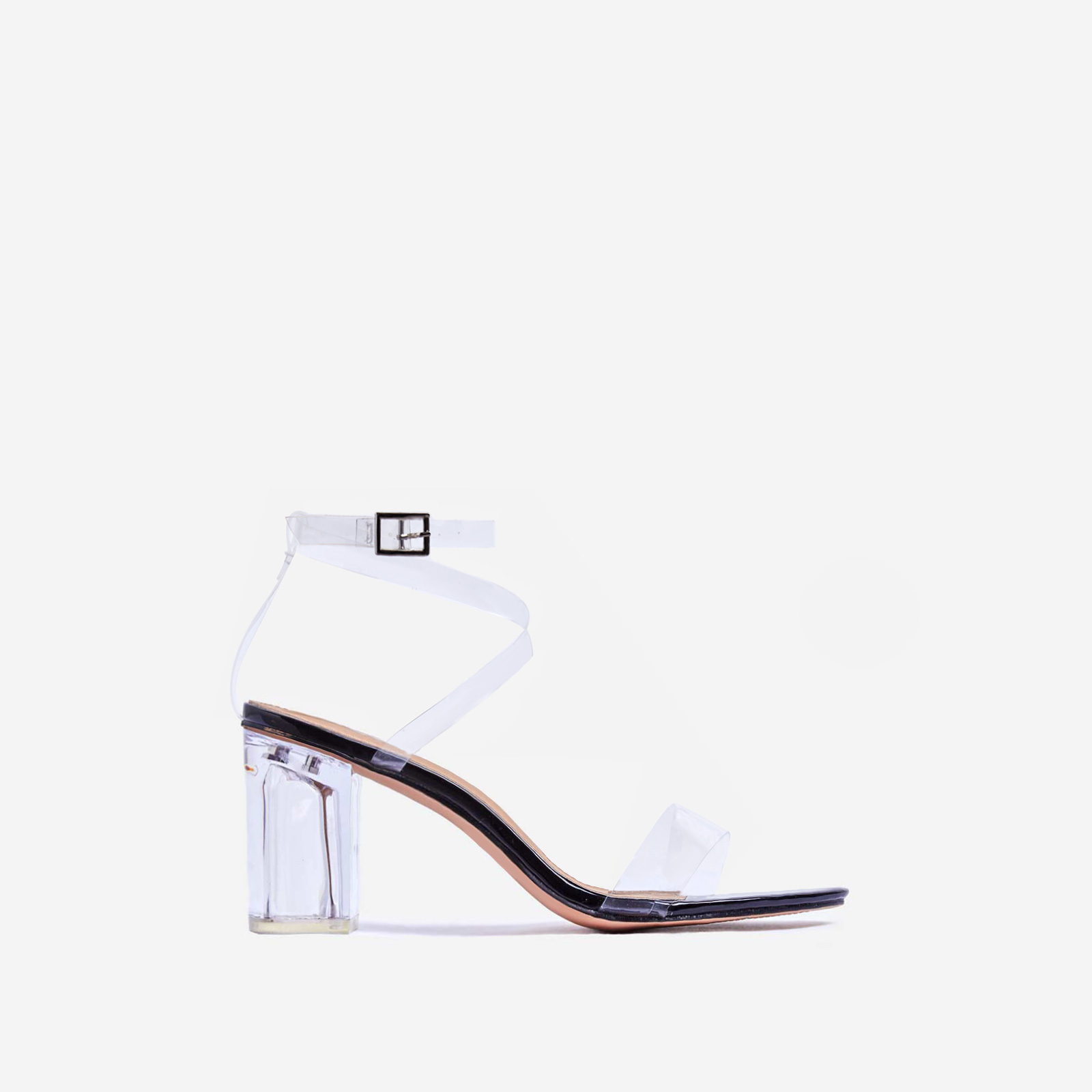 Date Barely There Clear Perspex Midi Block Heel In Black Patent