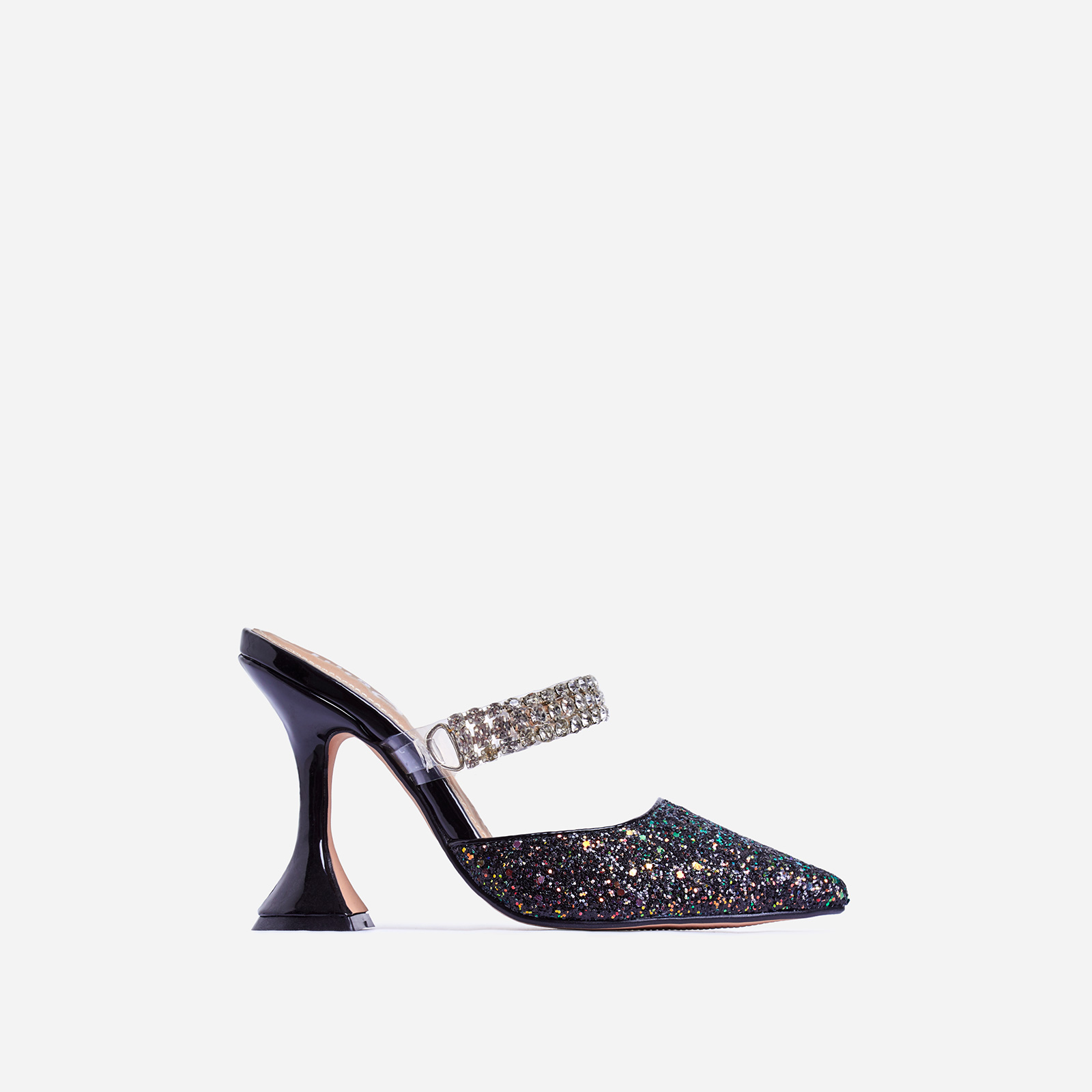 Spice Diamante Detail Pyramid Heel Mule In Black Glitter