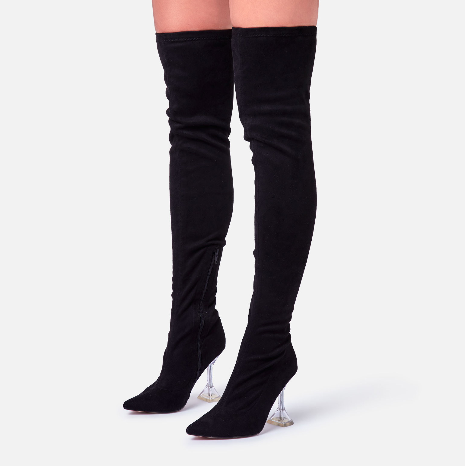 Trampoline Perspex Pyramid Heel Over The Knee Thigh High Long Boot In Black Faux Suede