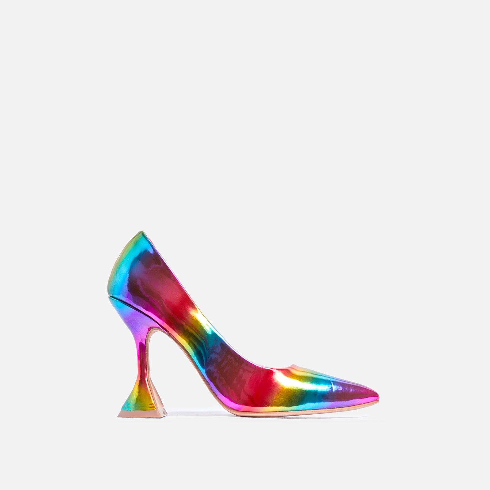 Tiller Pyramid Court Heel In Rainbow Print Patent