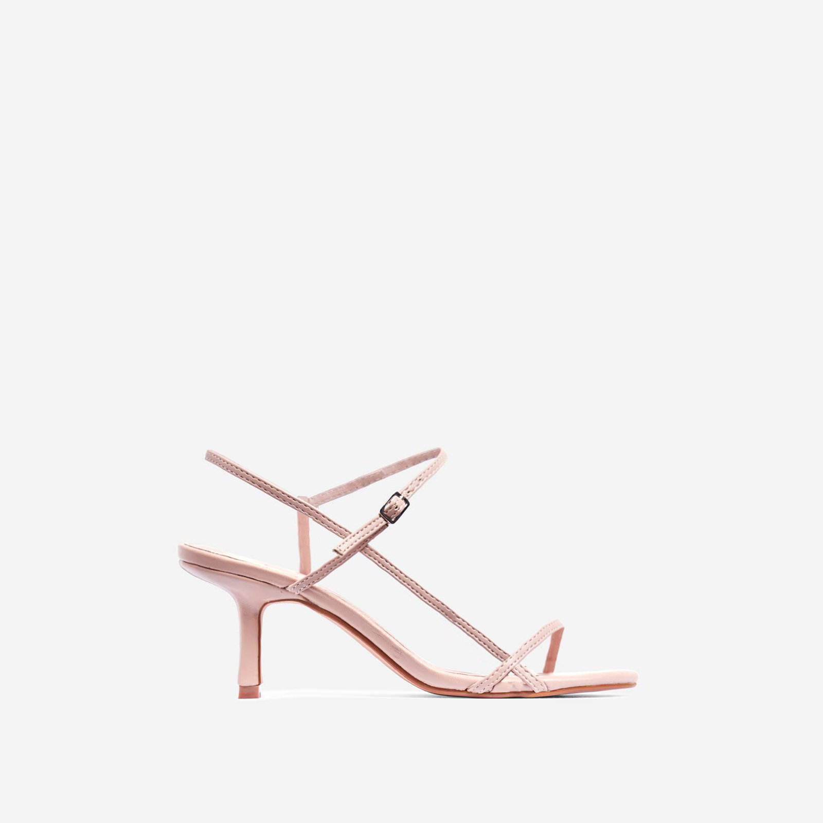 Voss Strappy Kitten Heel In Nude Faux Leather